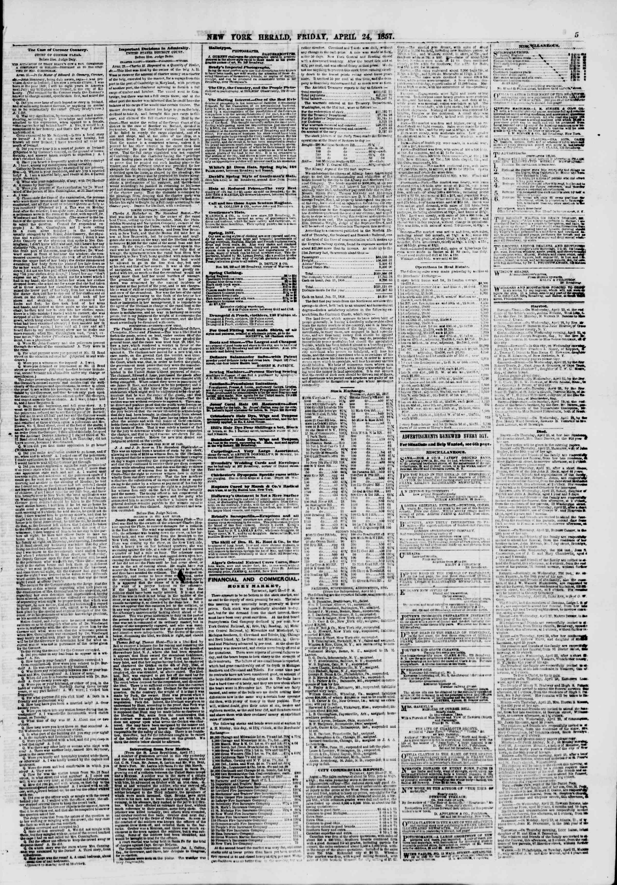 Newspaper of The New York Herald dated April 24, 1857 Page 5