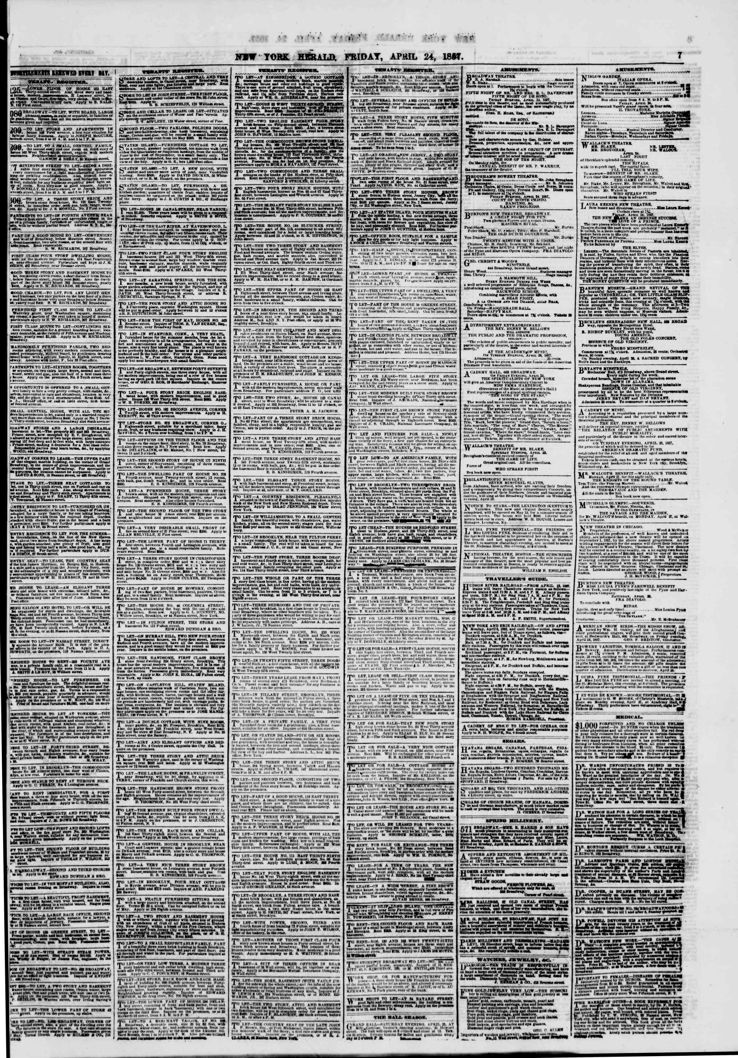 Newspaper of The New York Herald dated April 24, 1857 Page 7