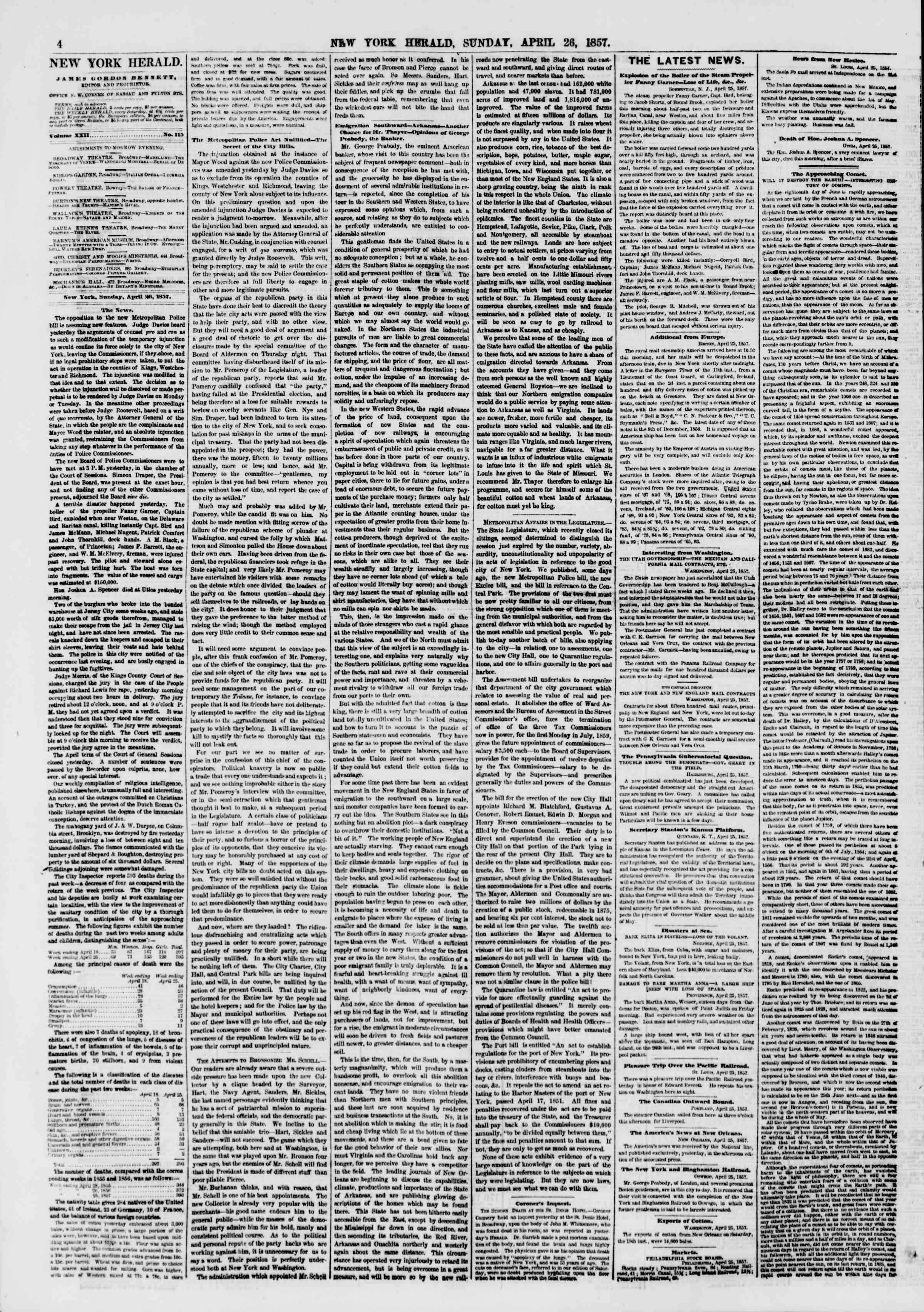 Newspaper of The New York Herald dated April 26, 1857 Page 4
