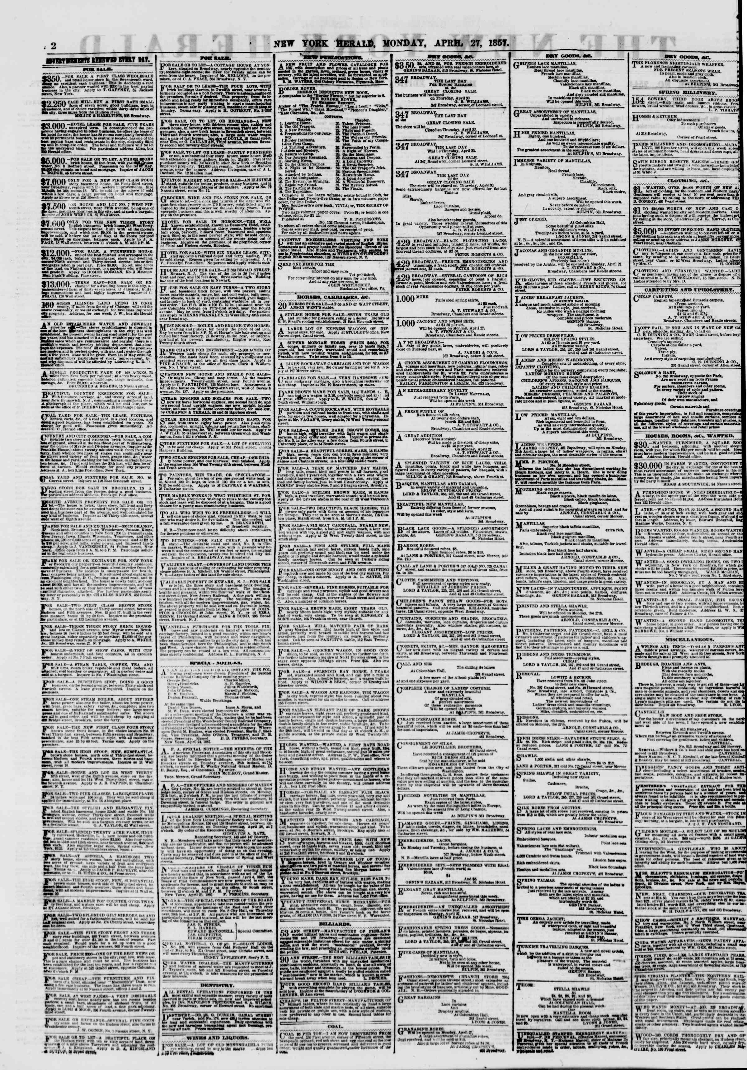 Newspaper of The New York Herald dated 27 Nisan 1857 Page 2