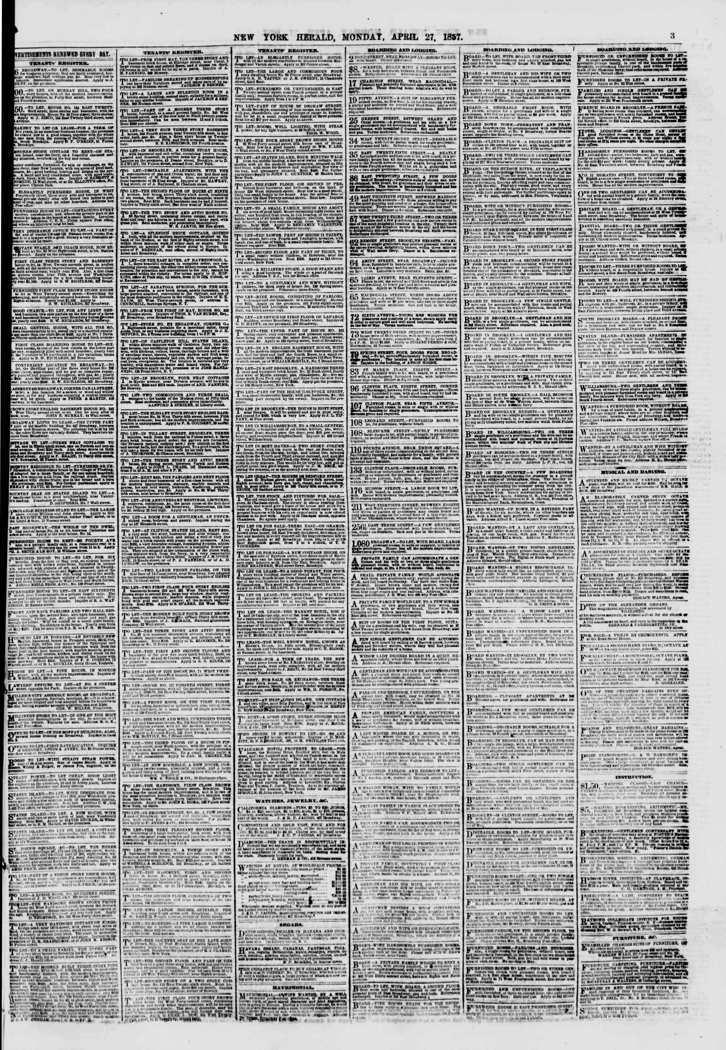 Newspaper of The New York Herald dated April 27, 1857 Page 3