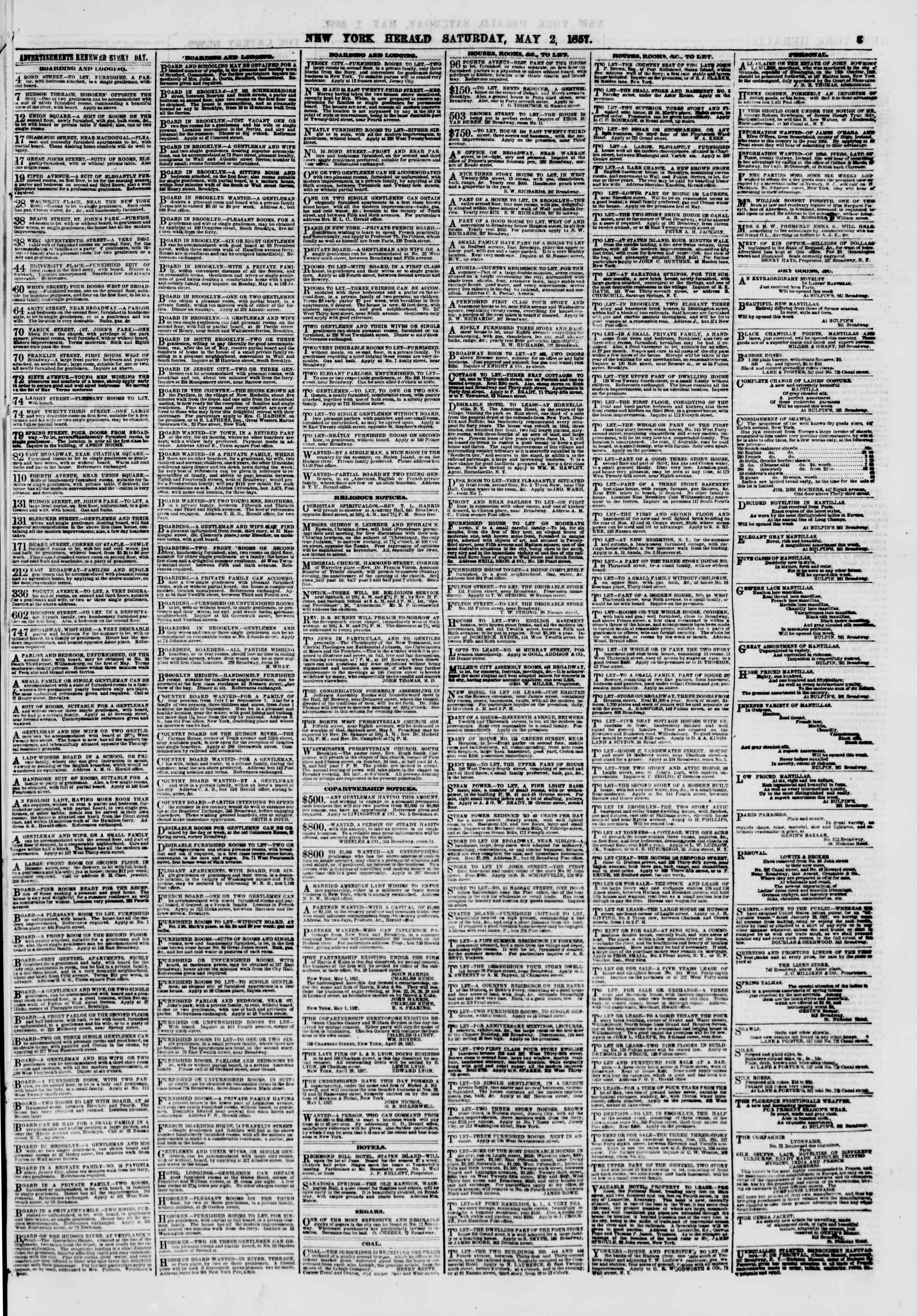 Newspaper of The New York Herald dated May 2, 1857 Page 3