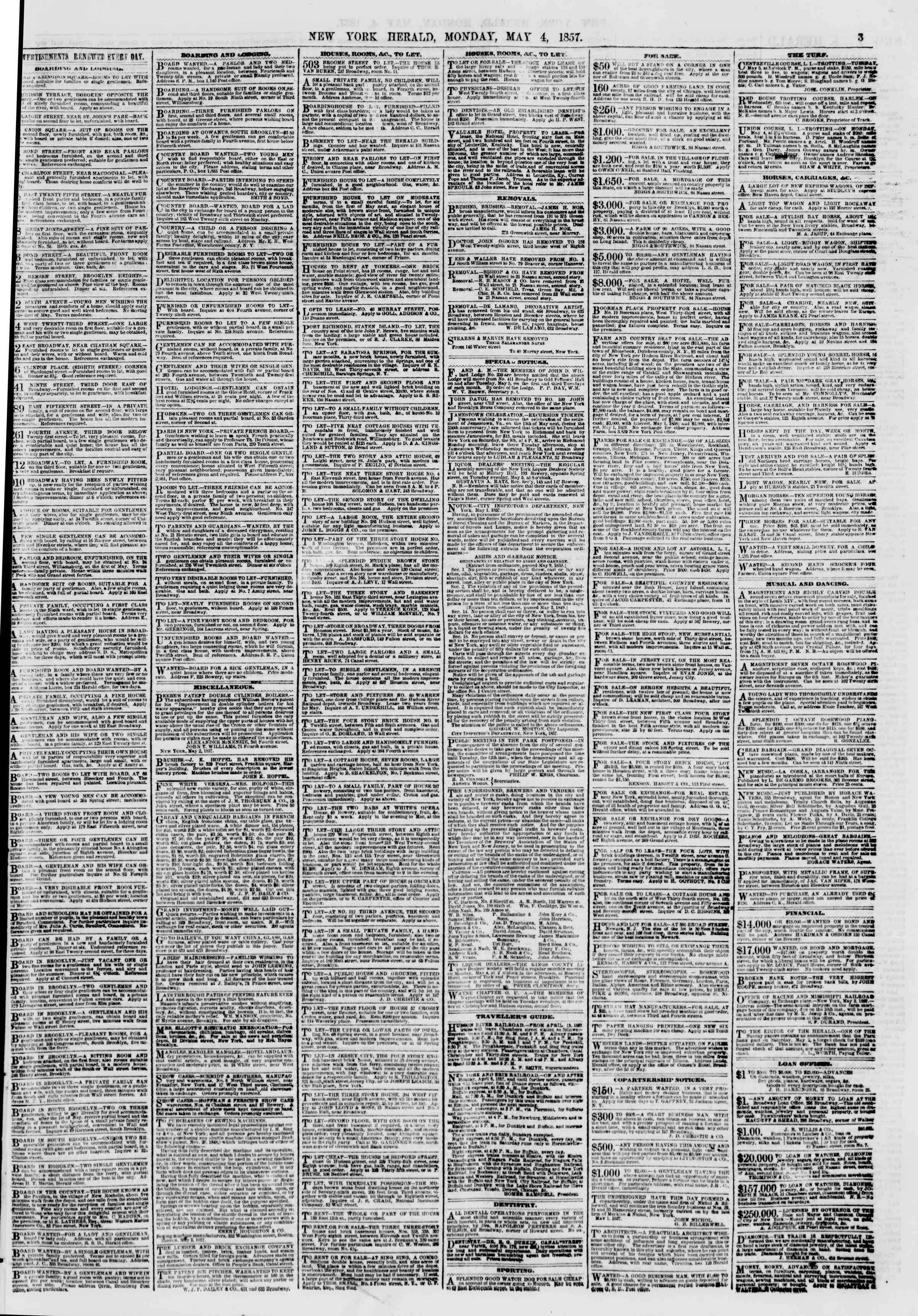 Newspaper of The New York Herald dated May 4, 1857 Page 3