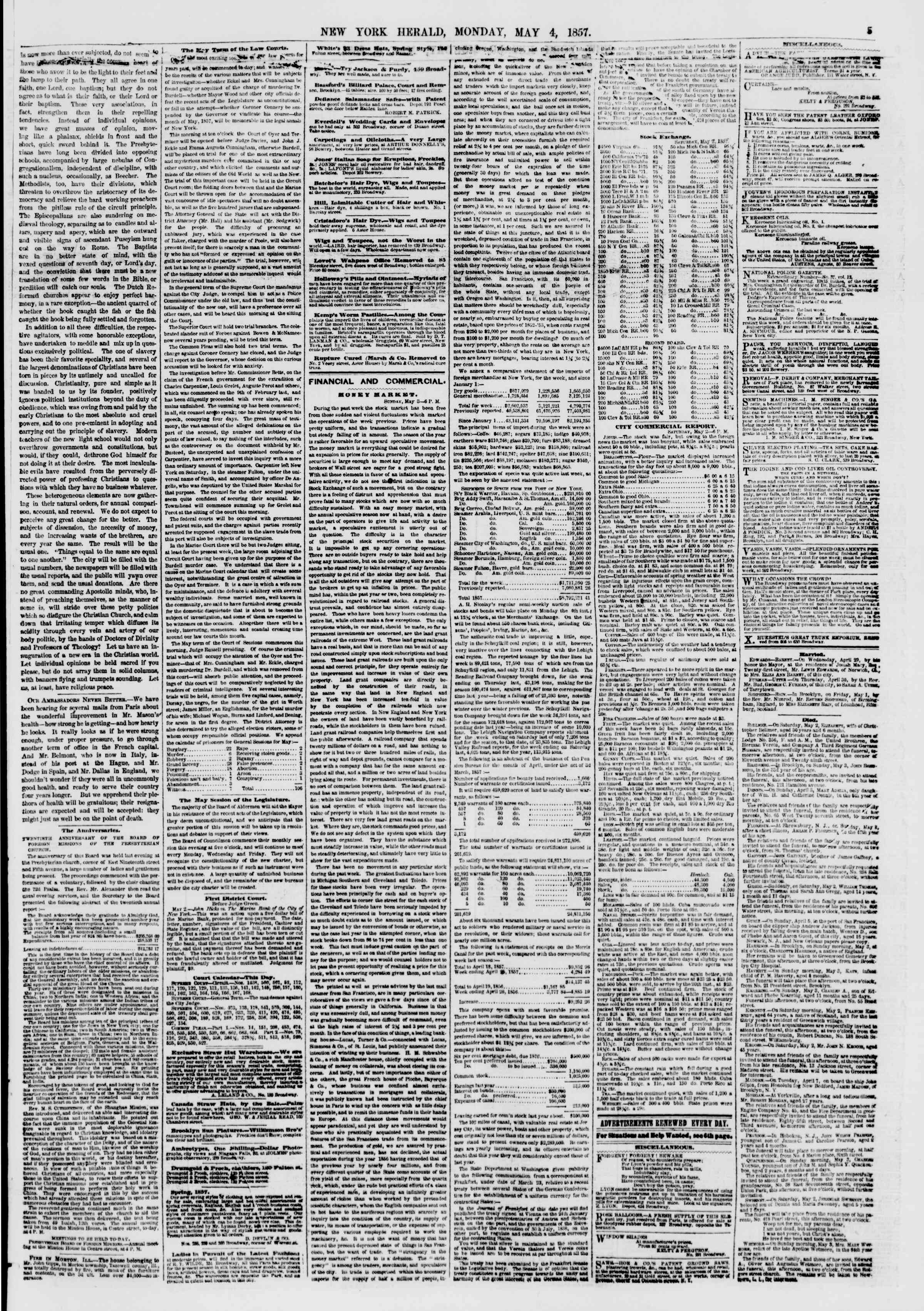 Newspaper of The New York Herald dated May 4, 1857 Page 5