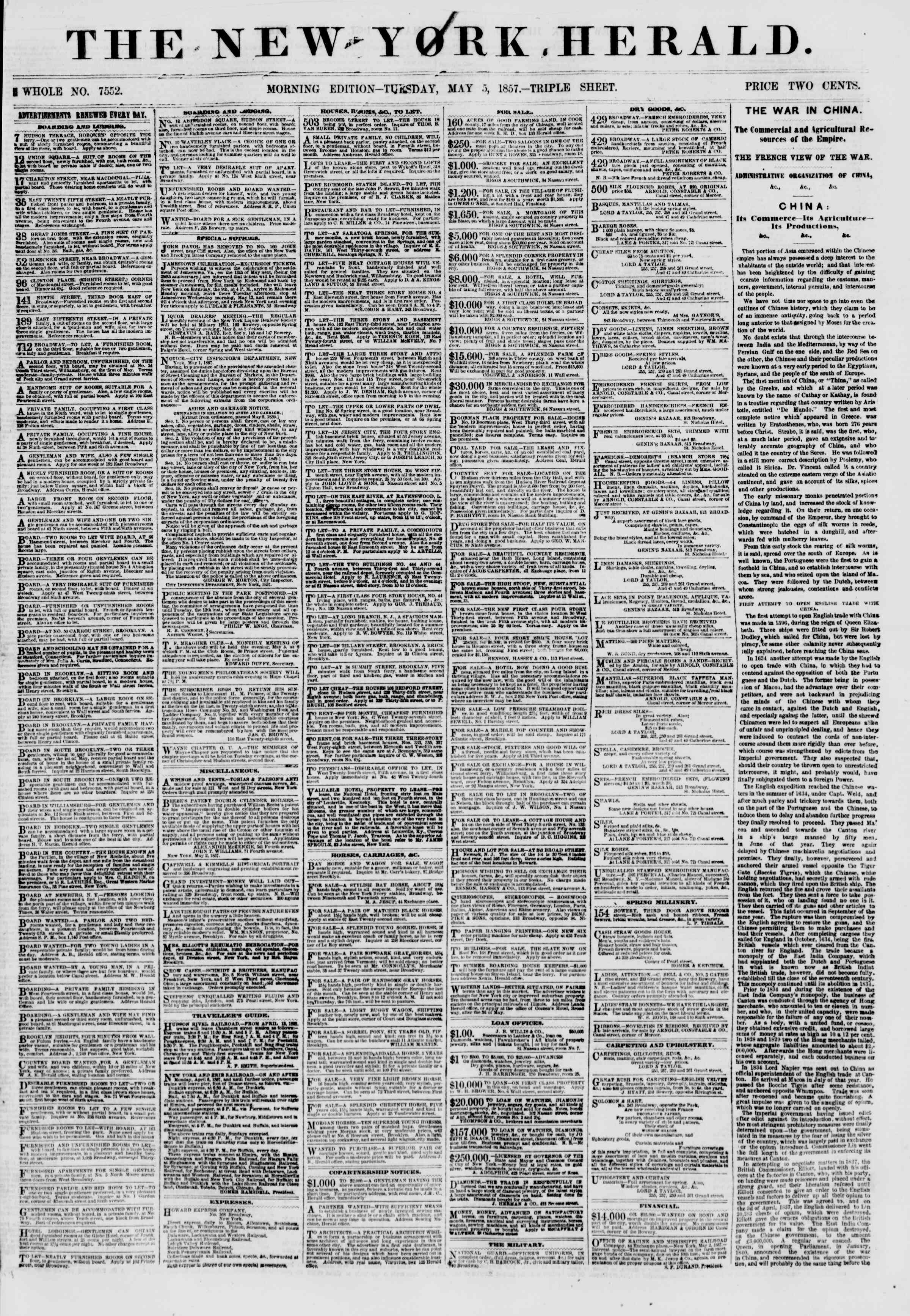 Newspaper of The New York Herald dated May 5, 1857 Page 1