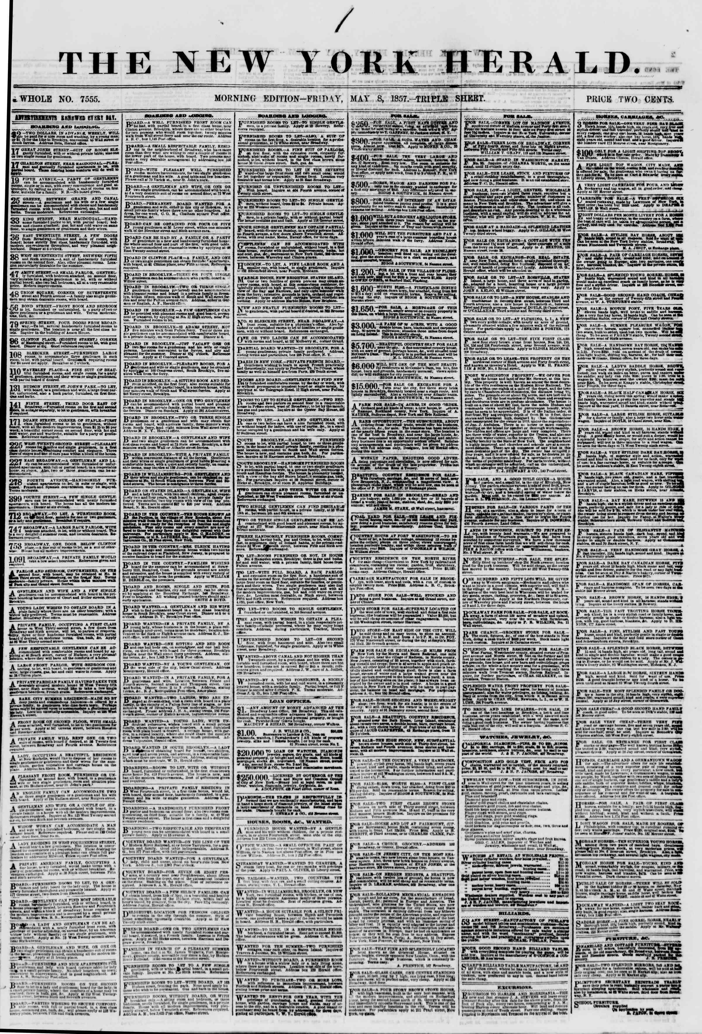 Newspaper of The New York Herald dated May 8, 1857 Page 1