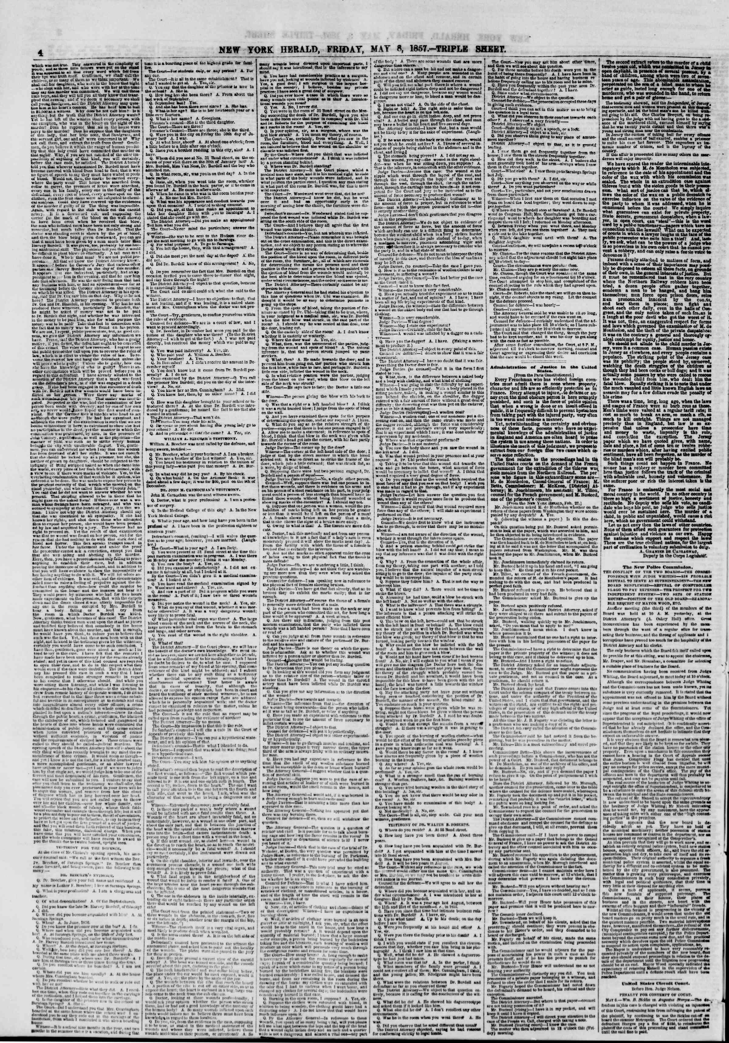 Newspaper of The New York Herald dated May 8, 1857 Page 4