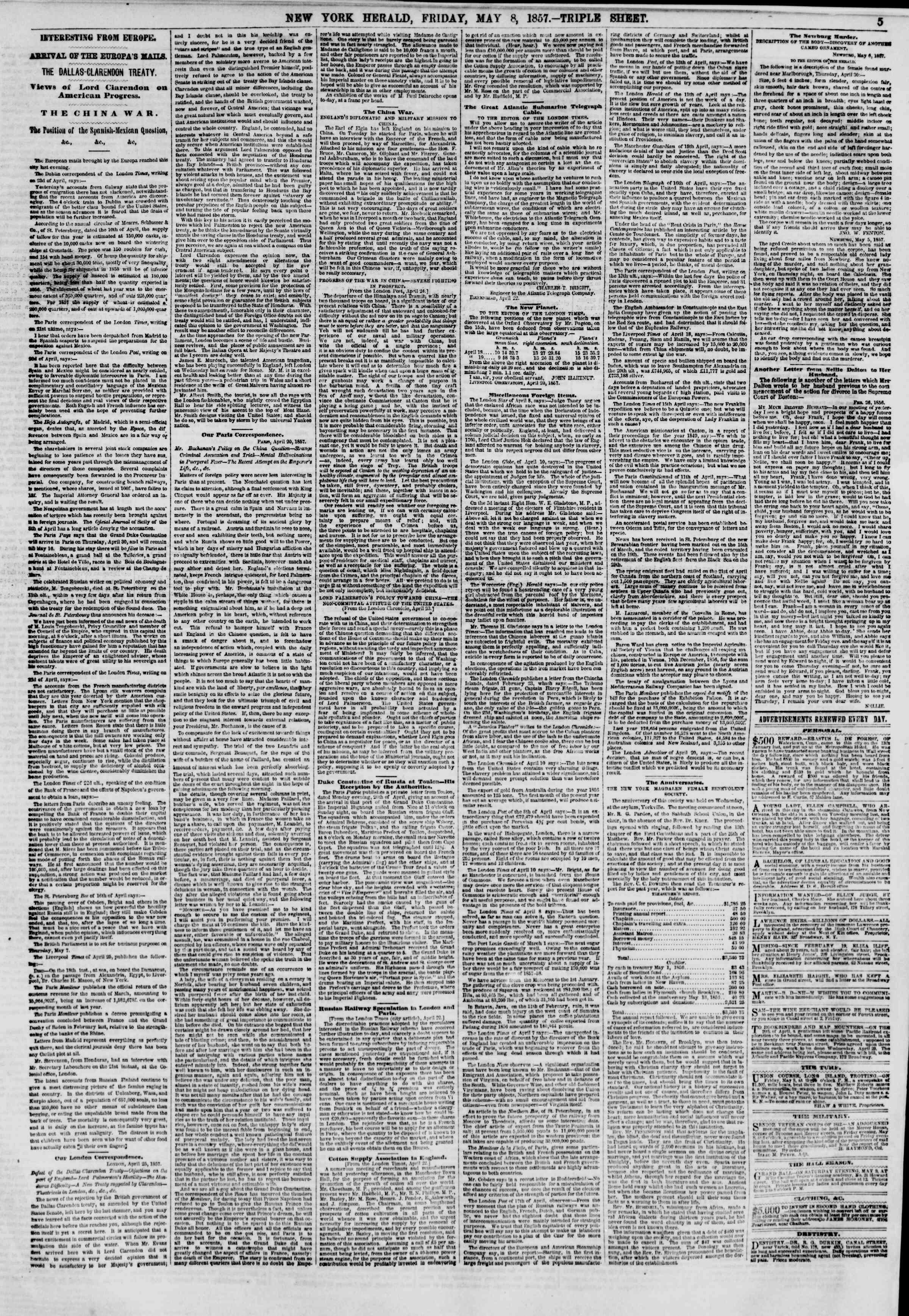 Newspaper of The New York Herald dated May 8, 1857 Page 5