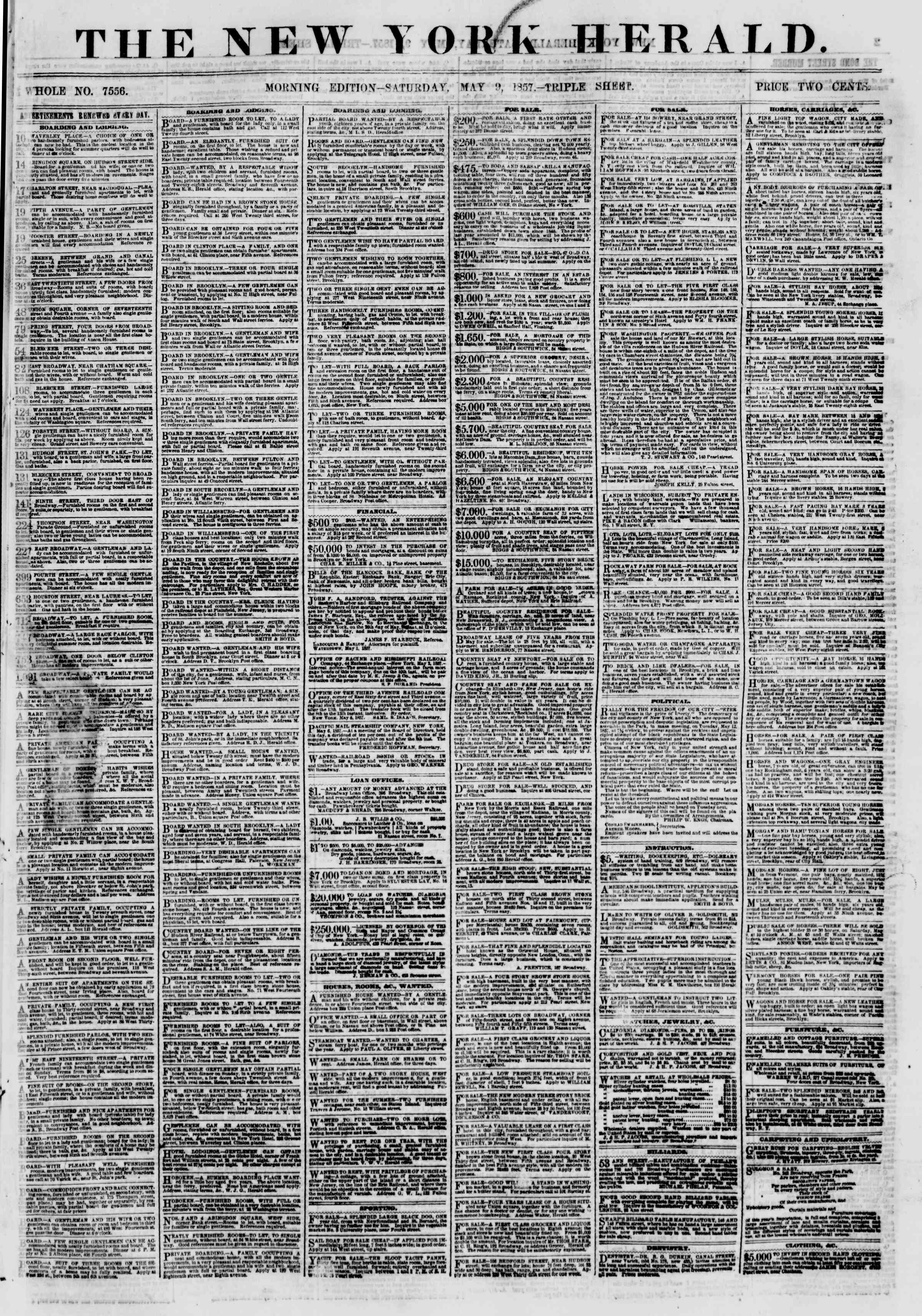 Newspaper of The New York Herald dated May 9, 1857 Page 1