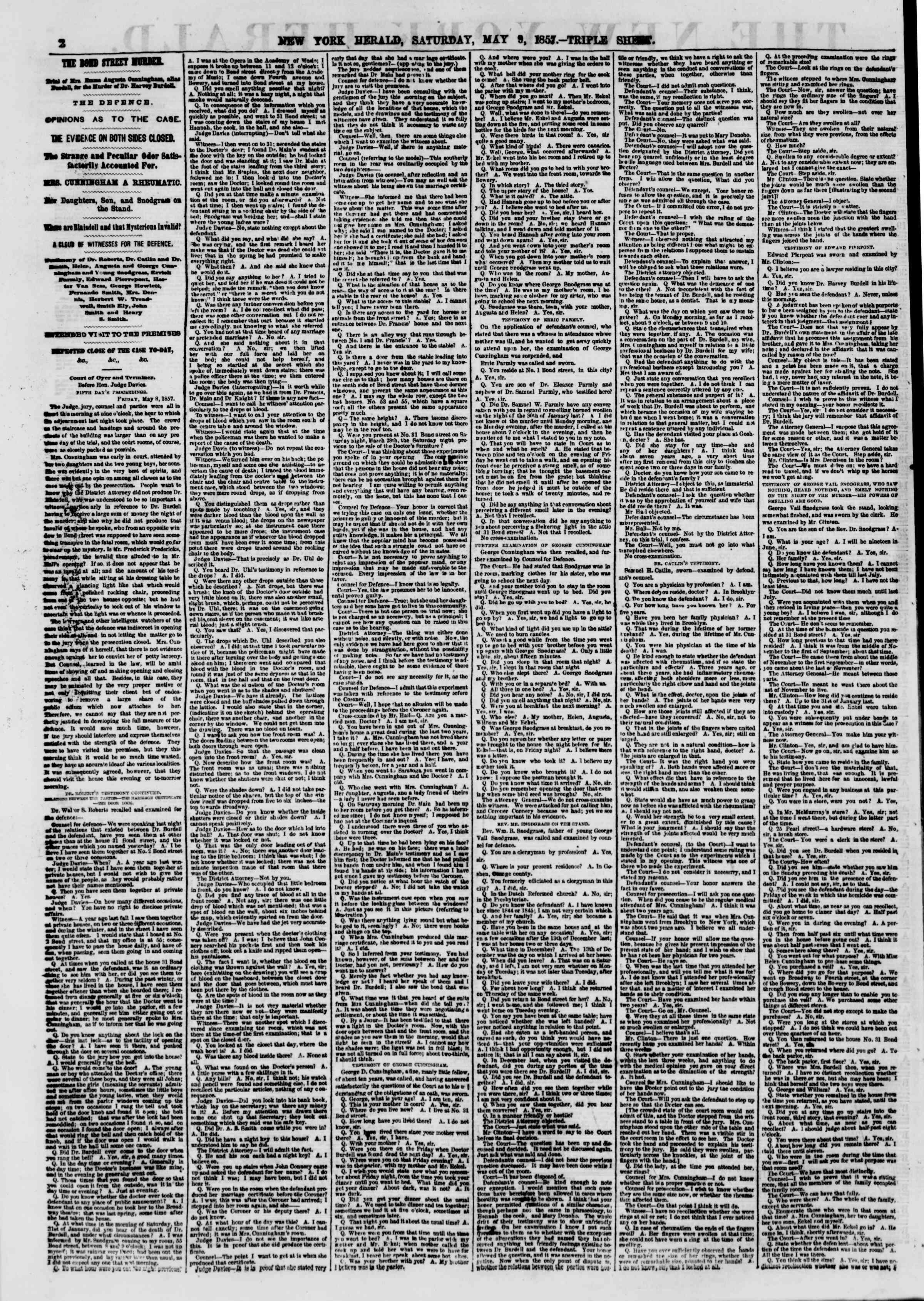 Newspaper of The New York Herald dated May 9, 1857 Page 2