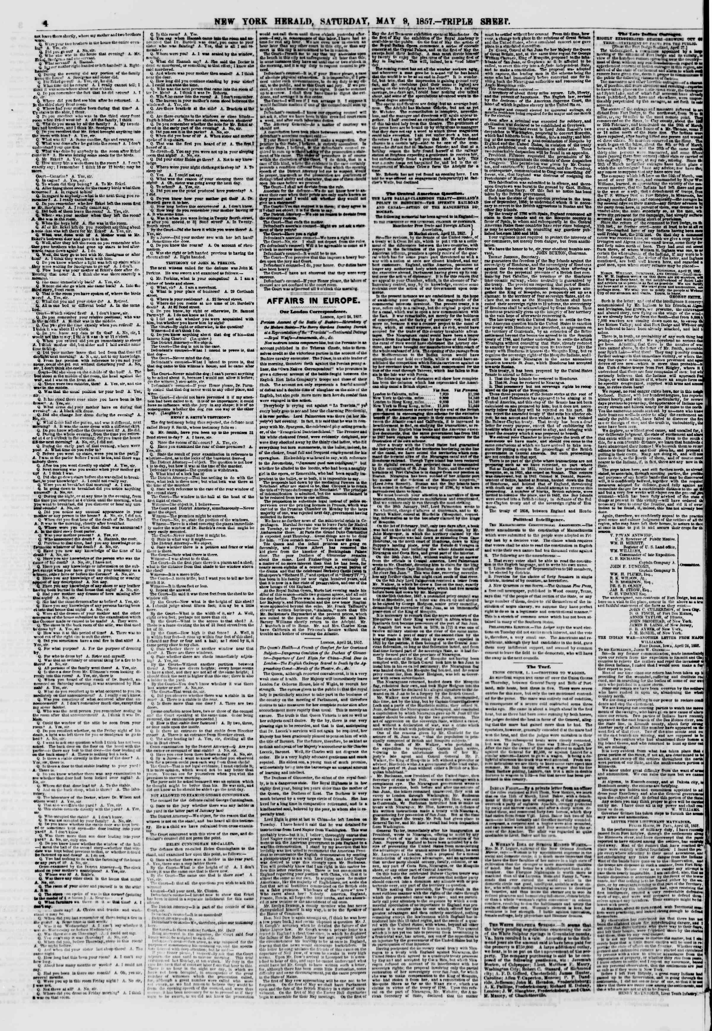 Newspaper of The New York Herald dated May 9, 1857 Page 4