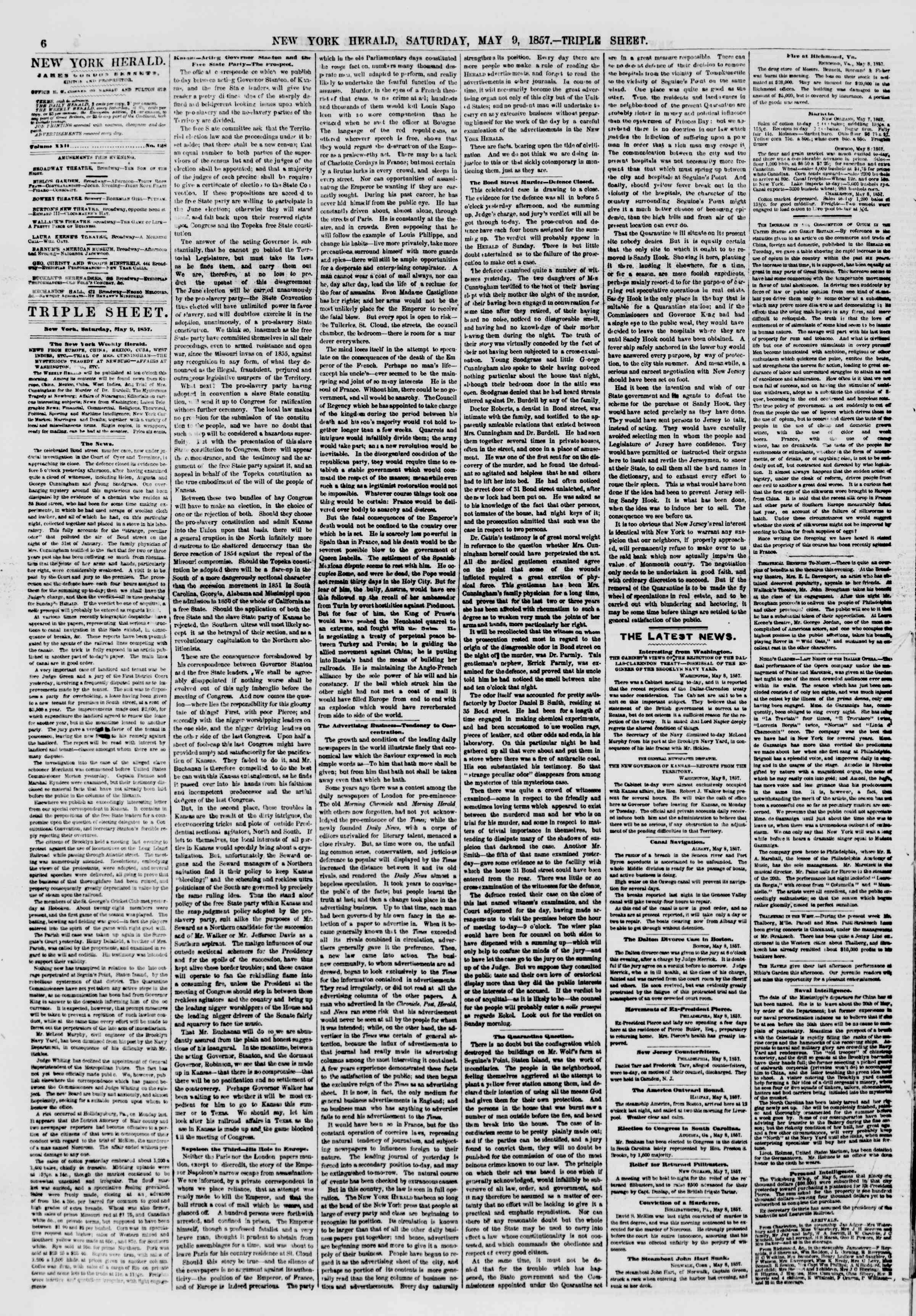 Newspaper of The New York Herald dated May 9, 1857 Page 6