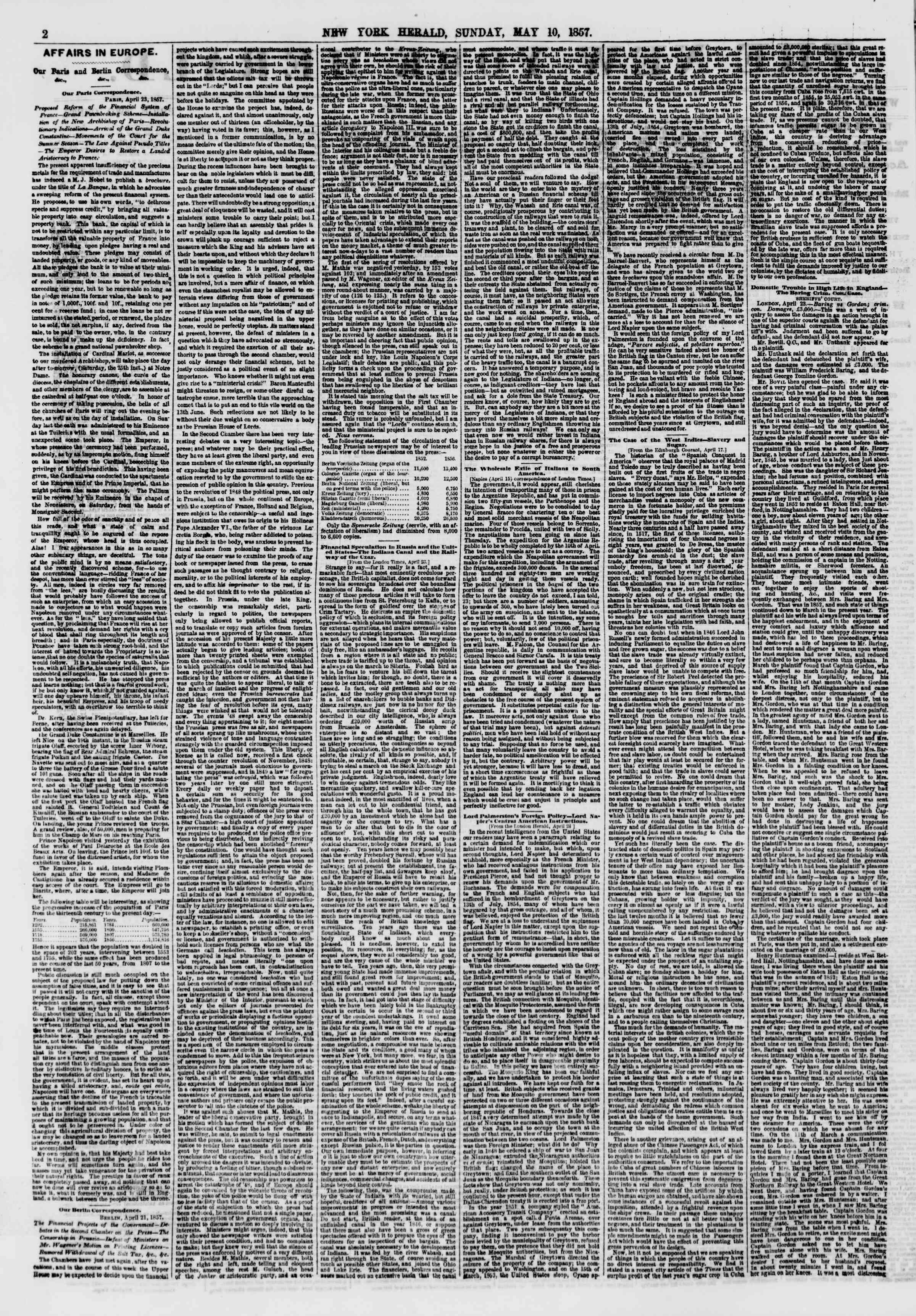 Newspaper of The New York Herald dated May 10, 1857 Page 2