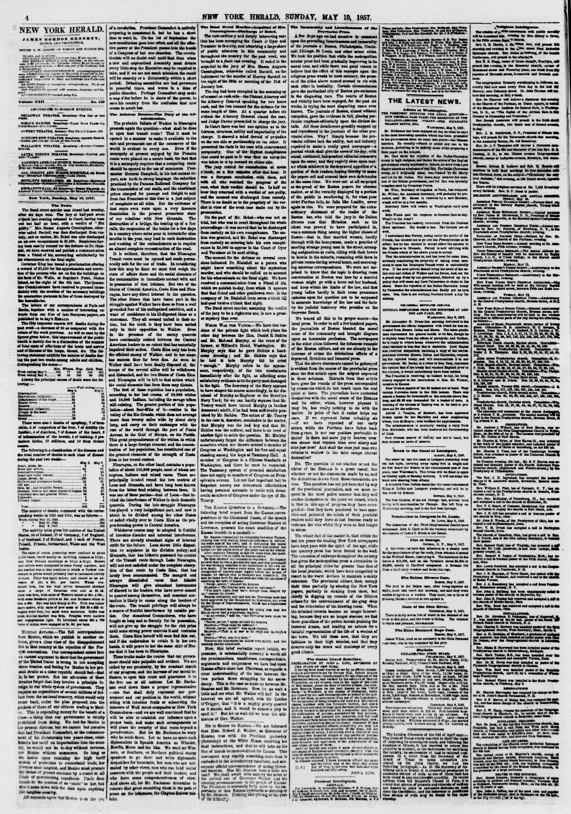 Newspaper of The New York Herald dated May 10, 1857 Page 4