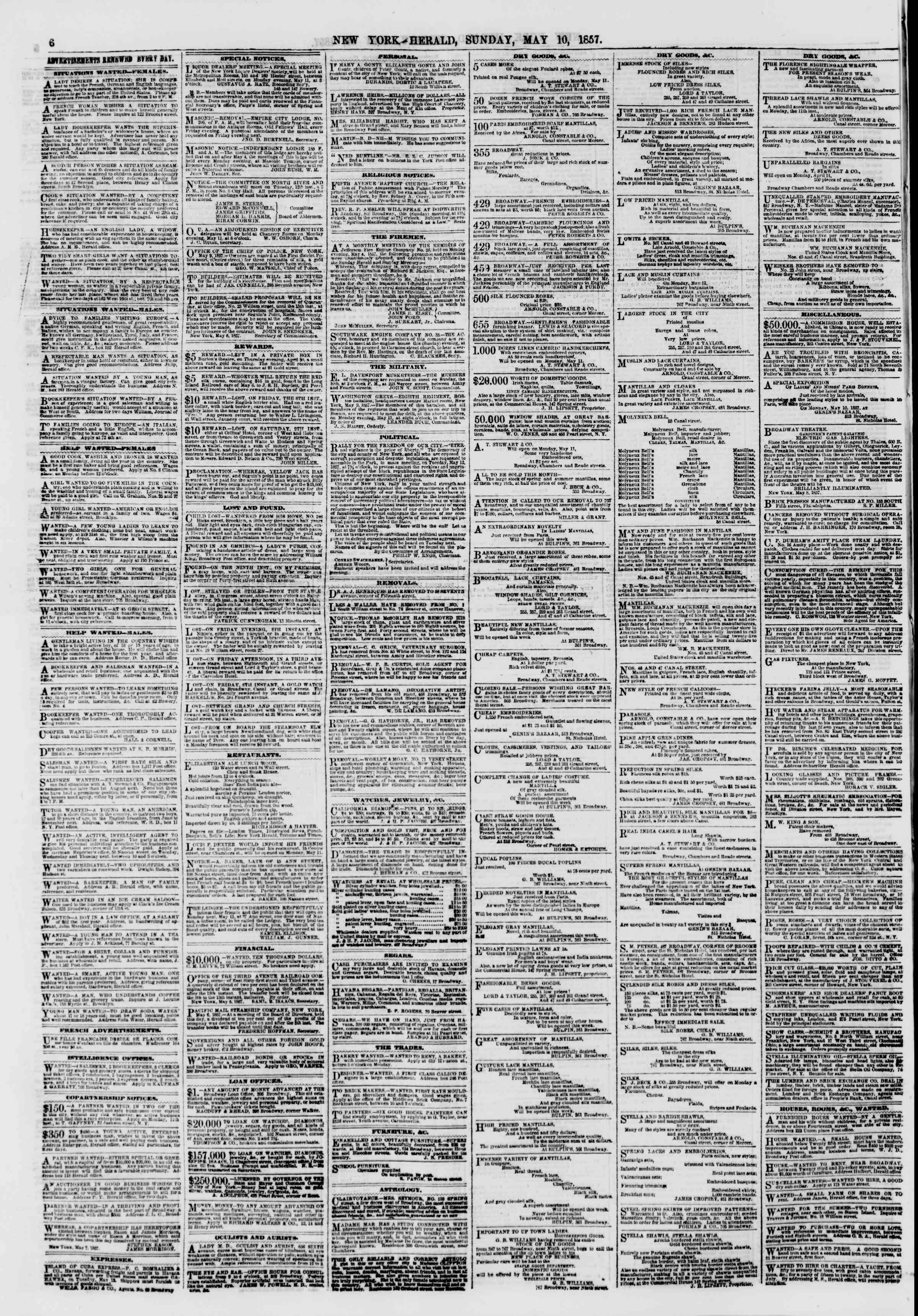 Newspaper of The New York Herald dated 10 Mayıs 1857 Page 6