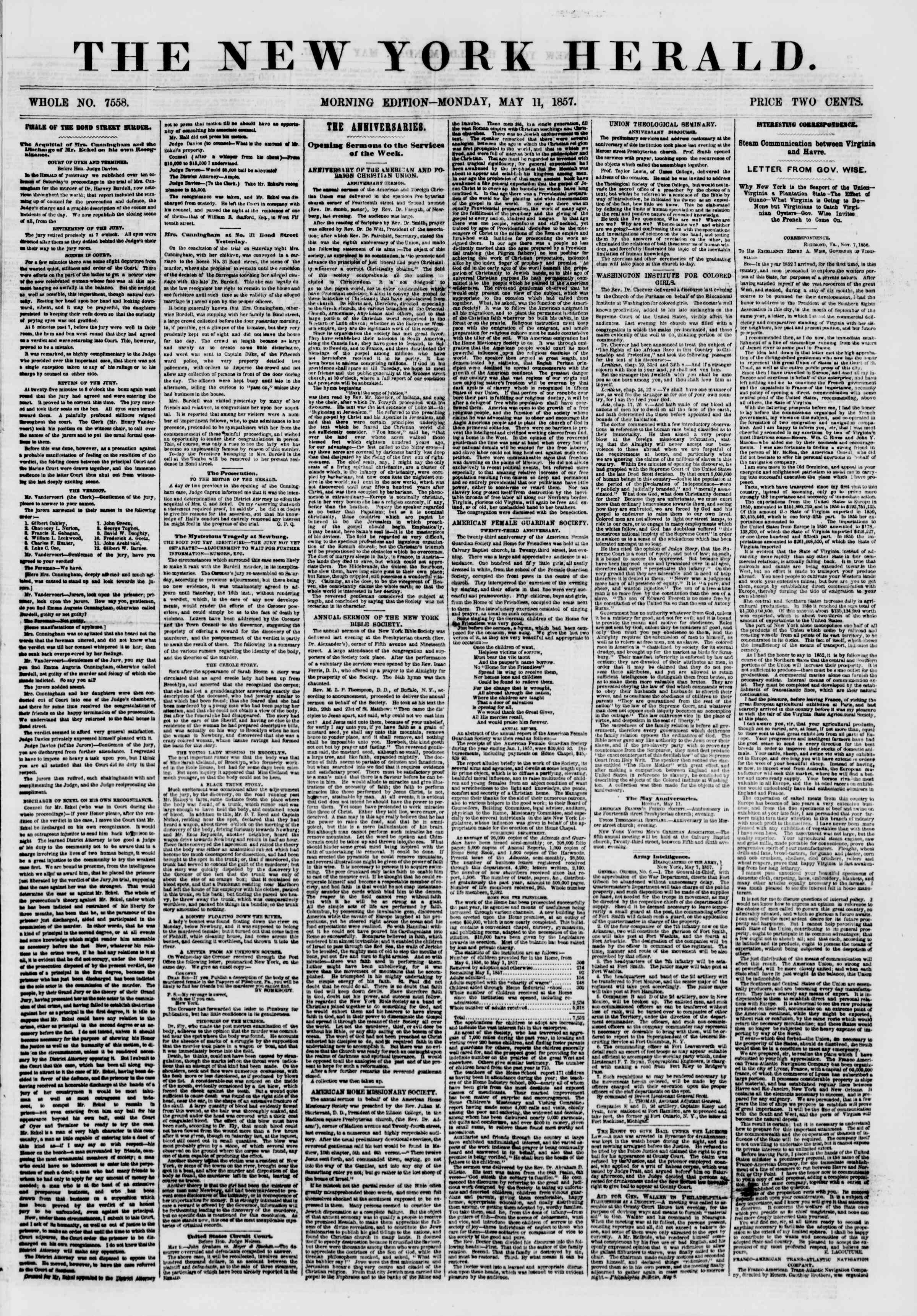 Newspaper of The New York Herald dated May 11, 1857 Page 1