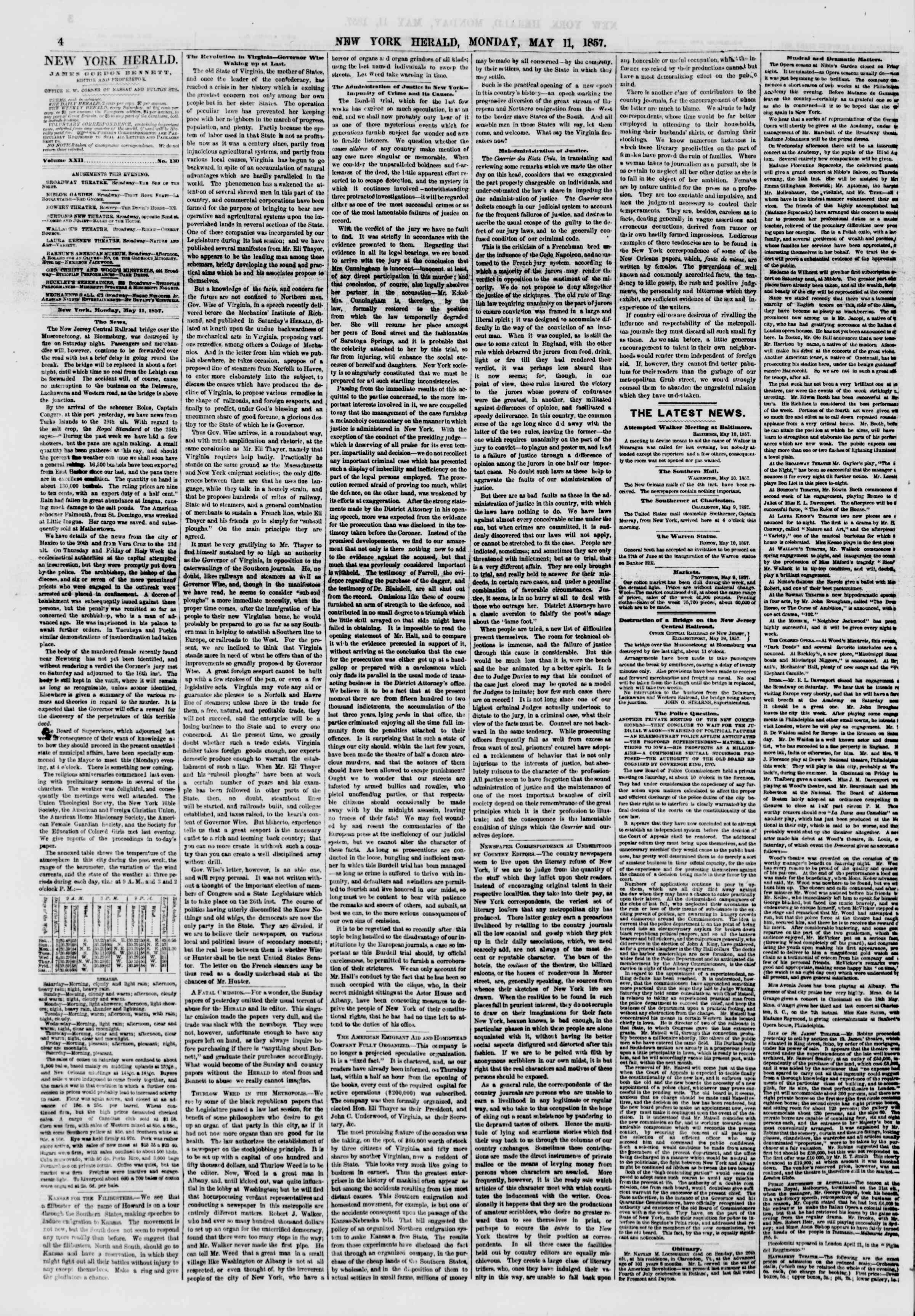 Newspaper of The New York Herald dated May 11, 1857 Page 4