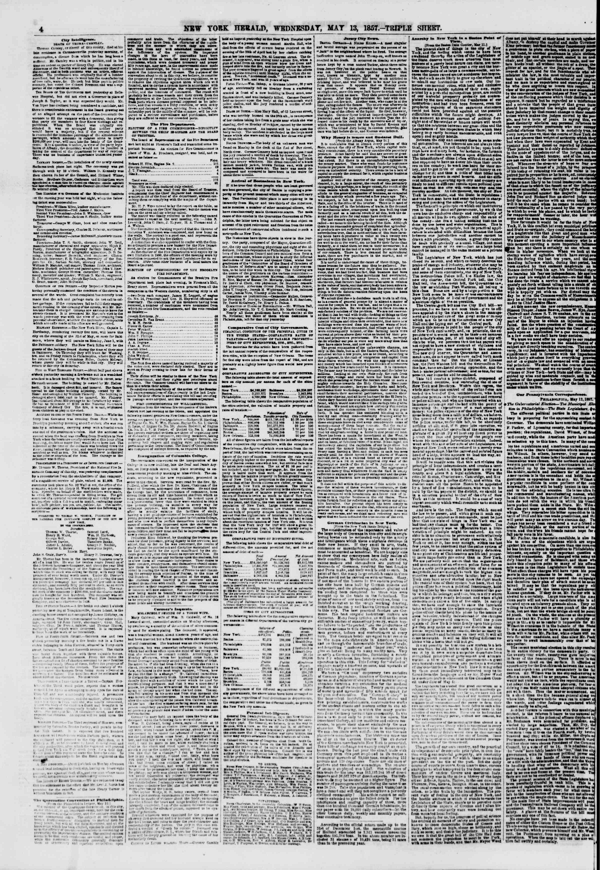 Newspaper of The New York Herald dated May 13, 1857 Page 4