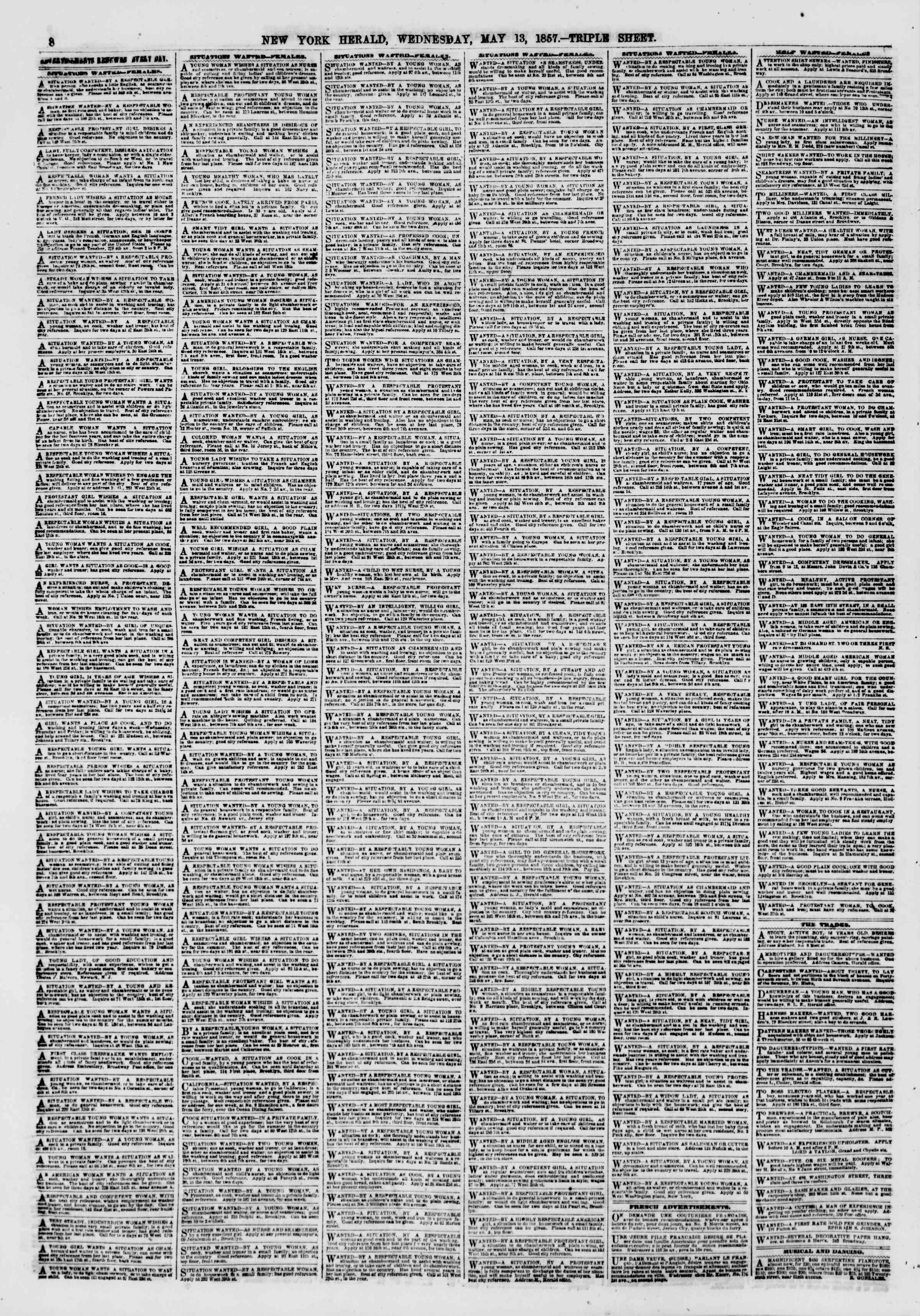 Newspaper of The New York Herald dated May 13, 1857 Page 8