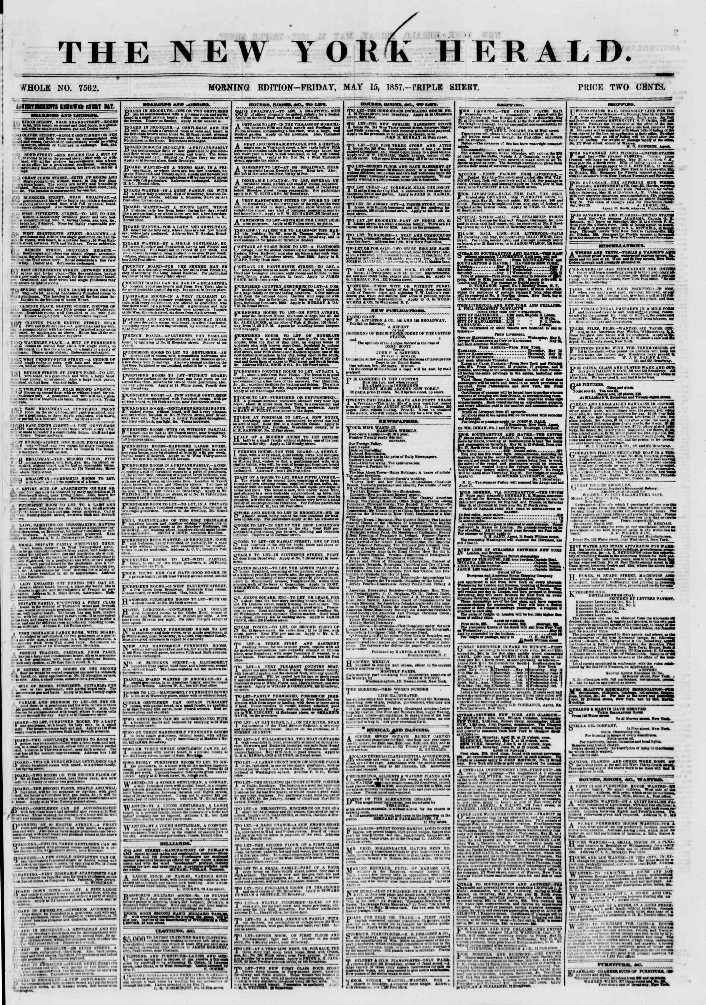 Newspaper of The New York Herald dated May 15, 1857 Page 1