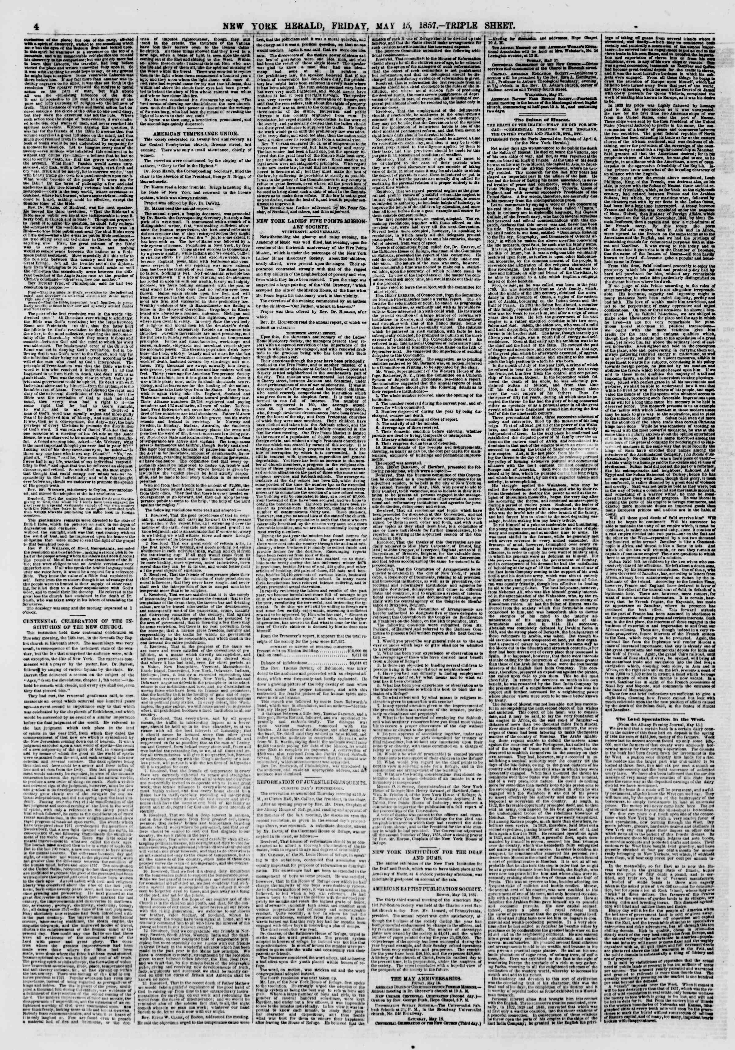 Newspaper of The New York Herald dated May 15, 1857 Page 4