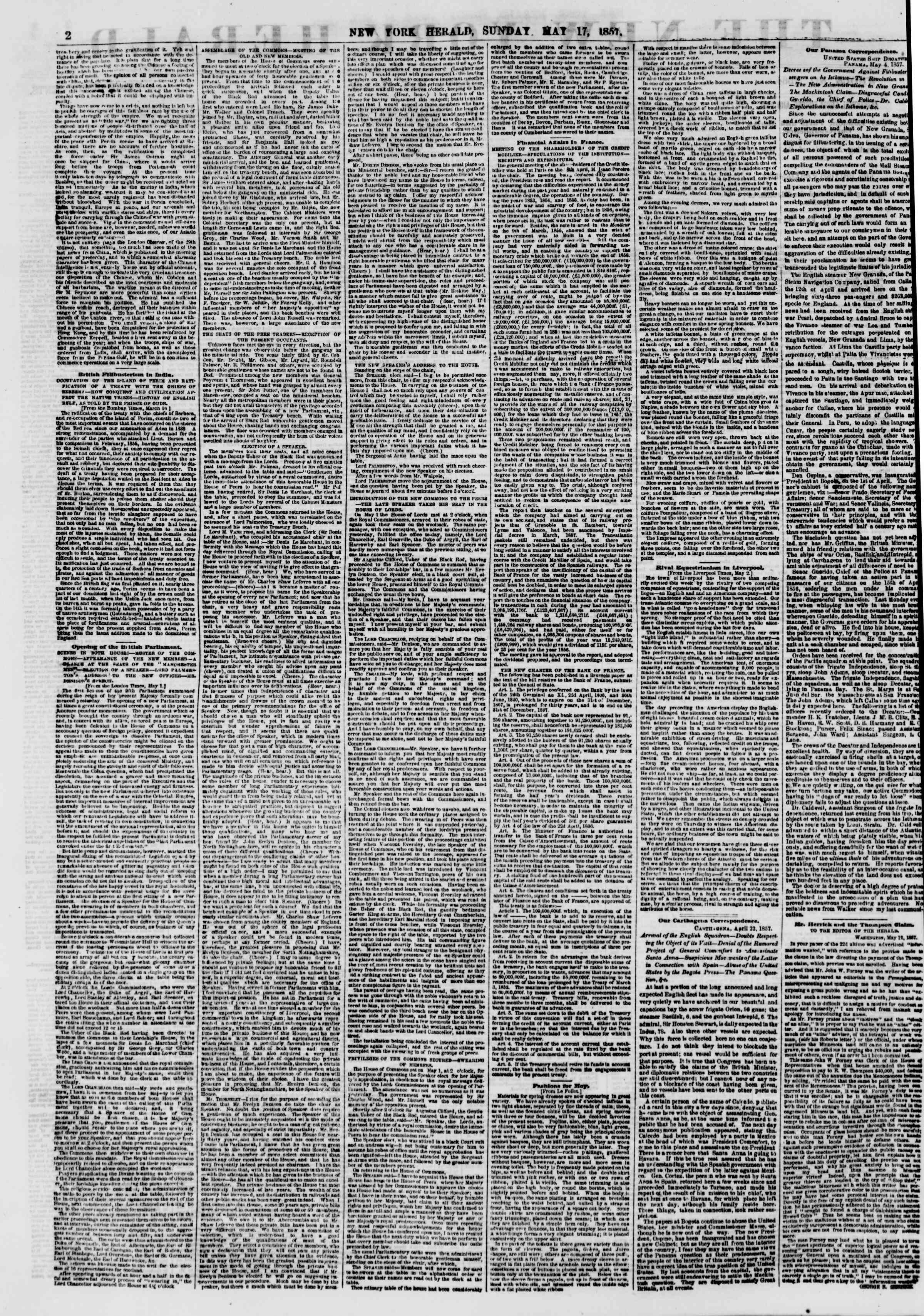Newspaper of The New York Herald dated May 17, 1857 Page 2