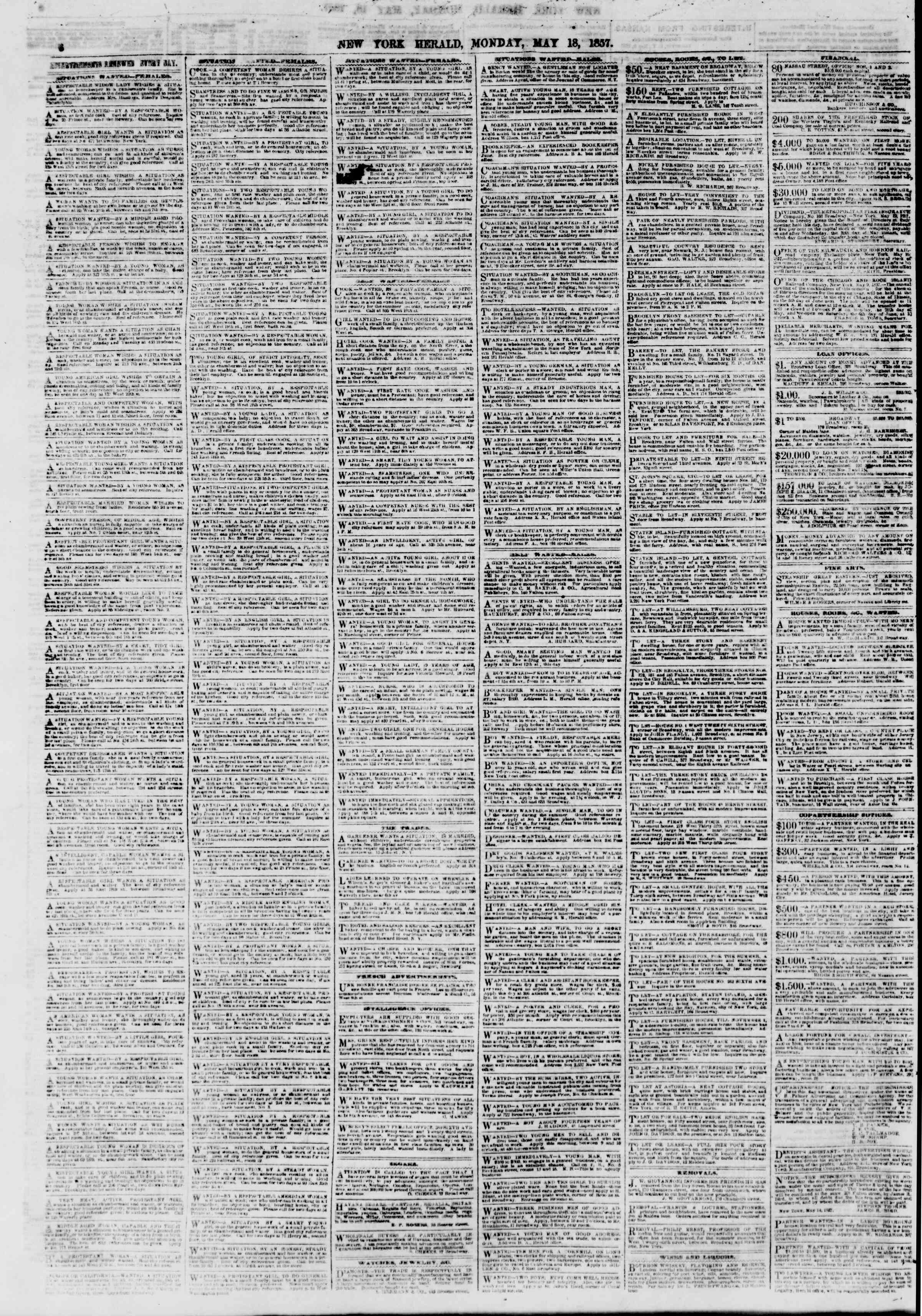 Newspaper of The New York Herald dated May 18, 1857 Page 6