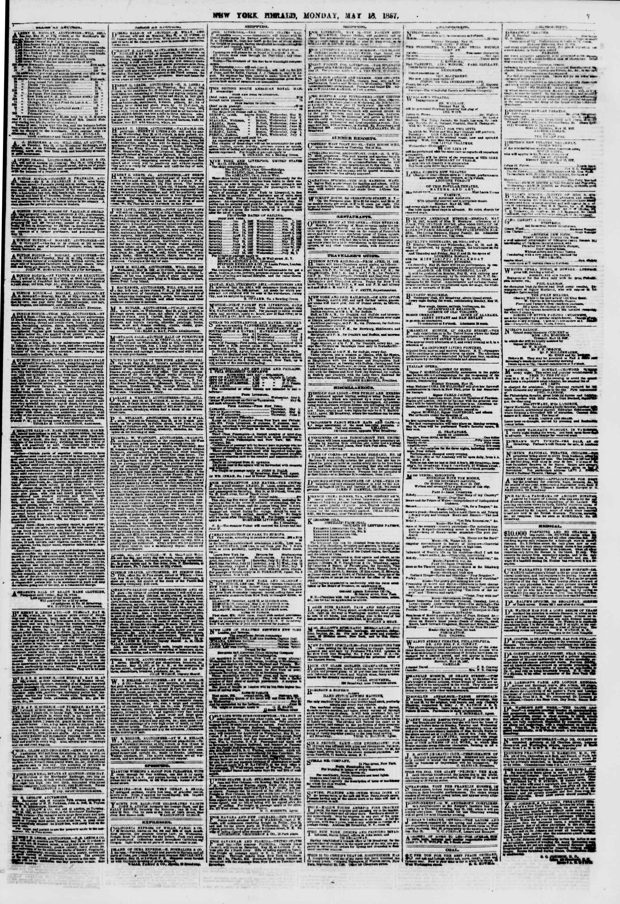 Newspaper of The New York Herald dated May 18, 1857 Page 7