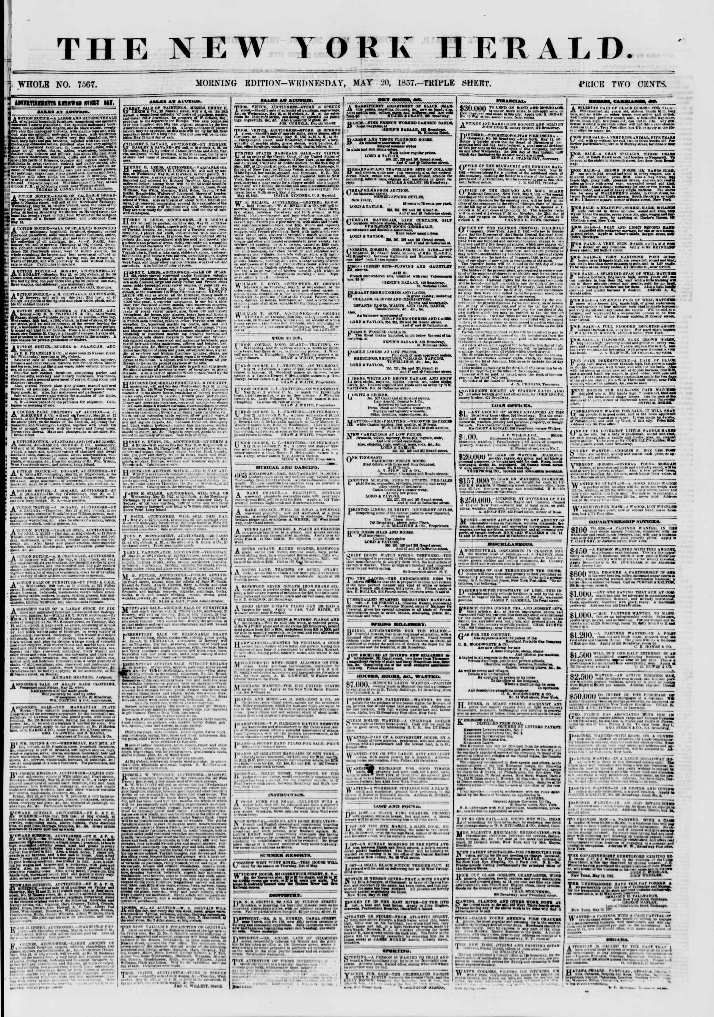 Newspaper of The New York Herald dated May 20, 1857 Page 1