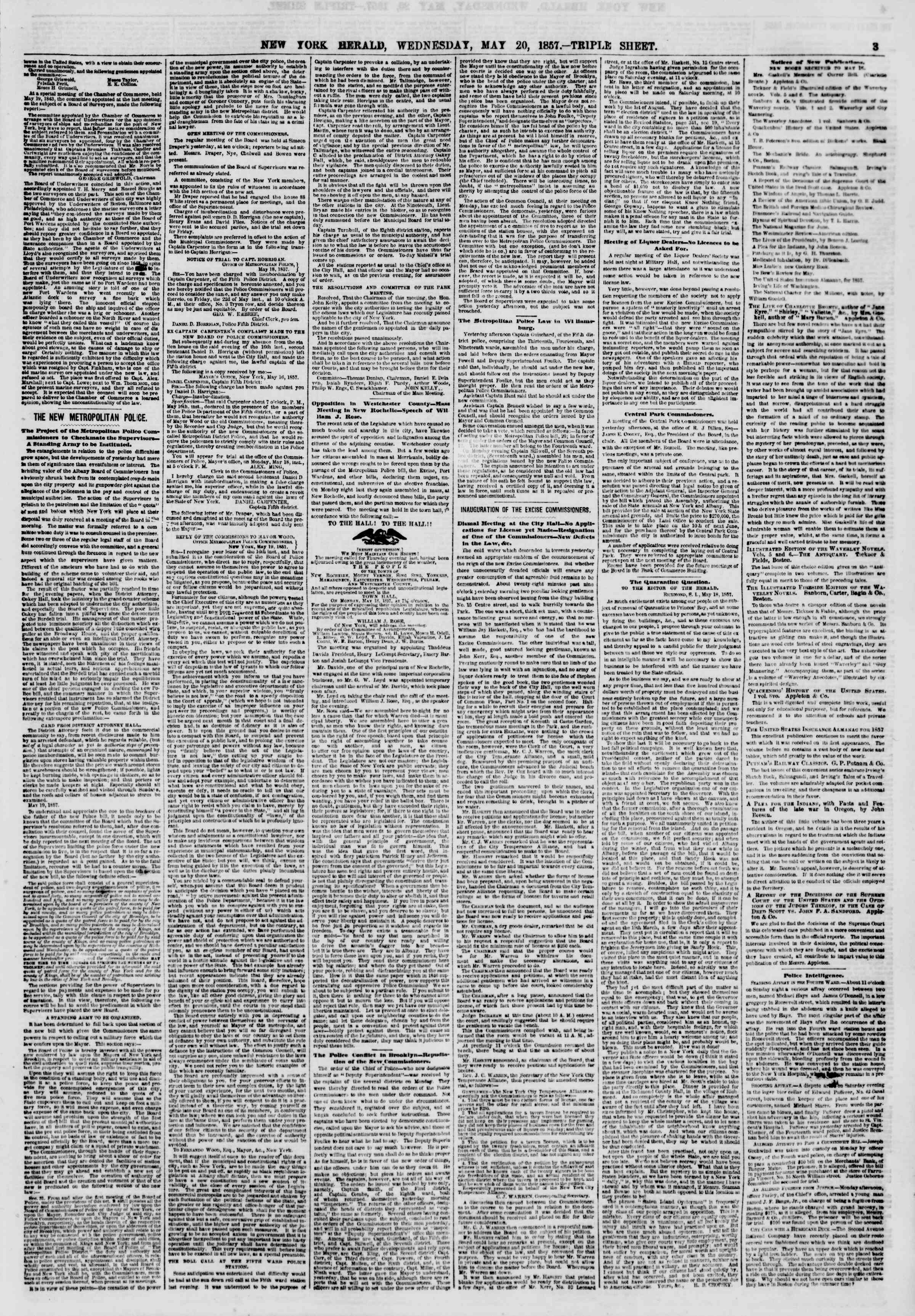 Newspaper of The New York Herald dated May 20, 1857 Page 3