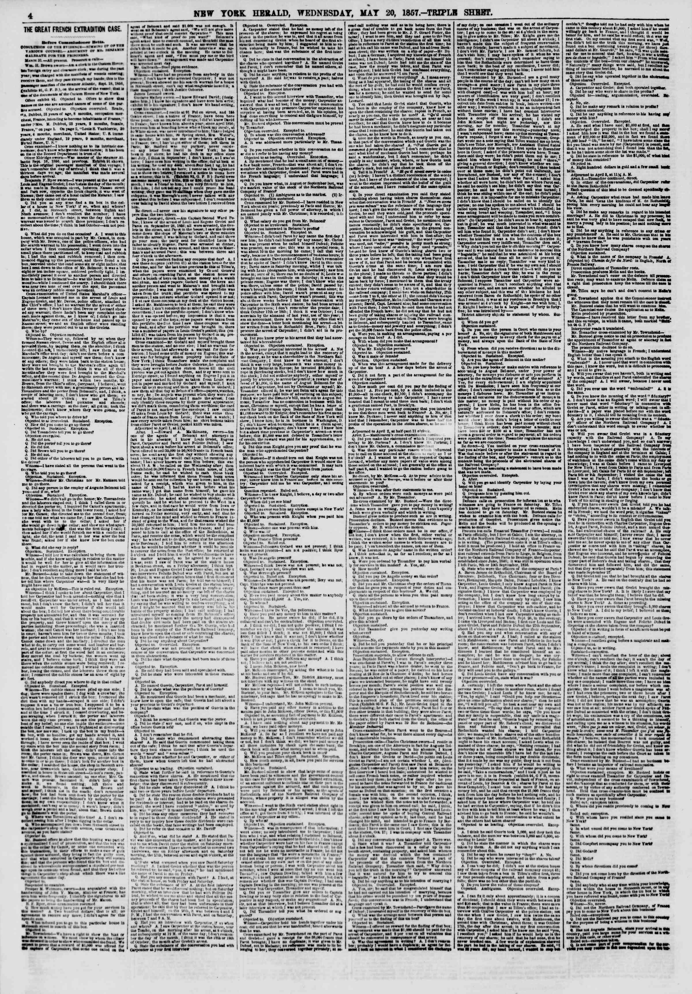 Newspaper of The New York Herald dated May 20, 1857 Page 4