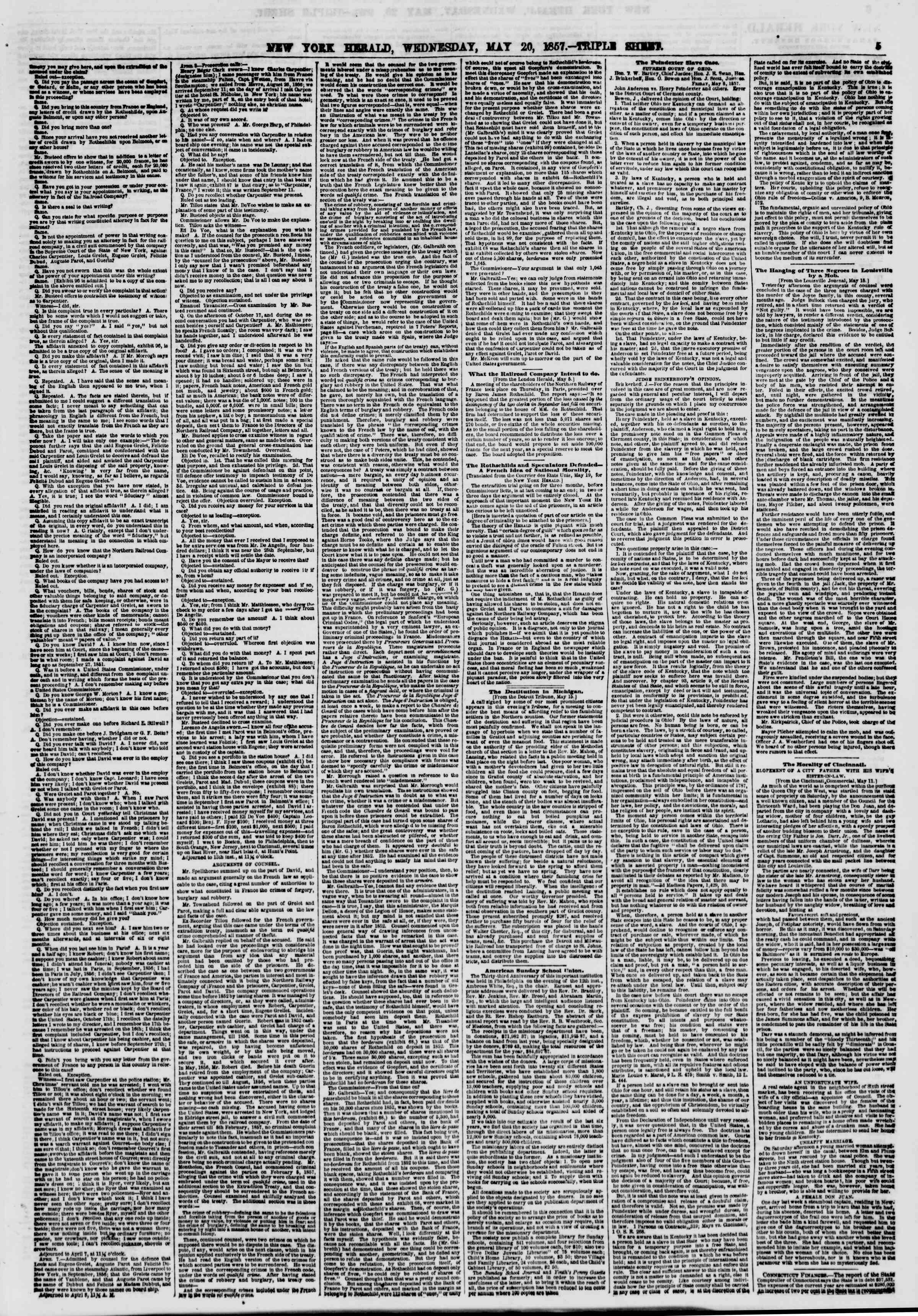 Newspaper of The New York Herald dated May 20, 1857 Page 5