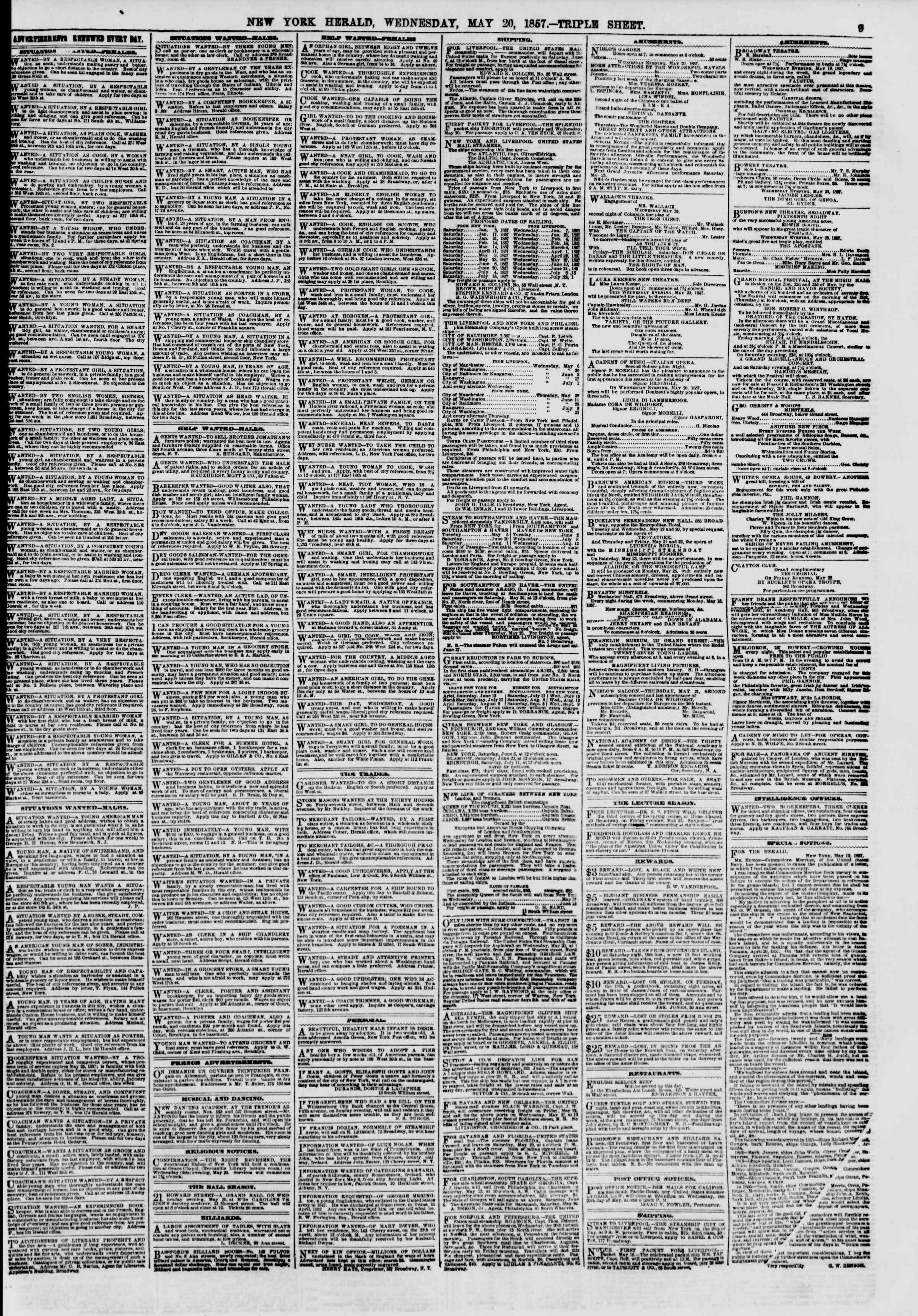 Newspaper of The New York Herald dated May 20, 1857 Page 9