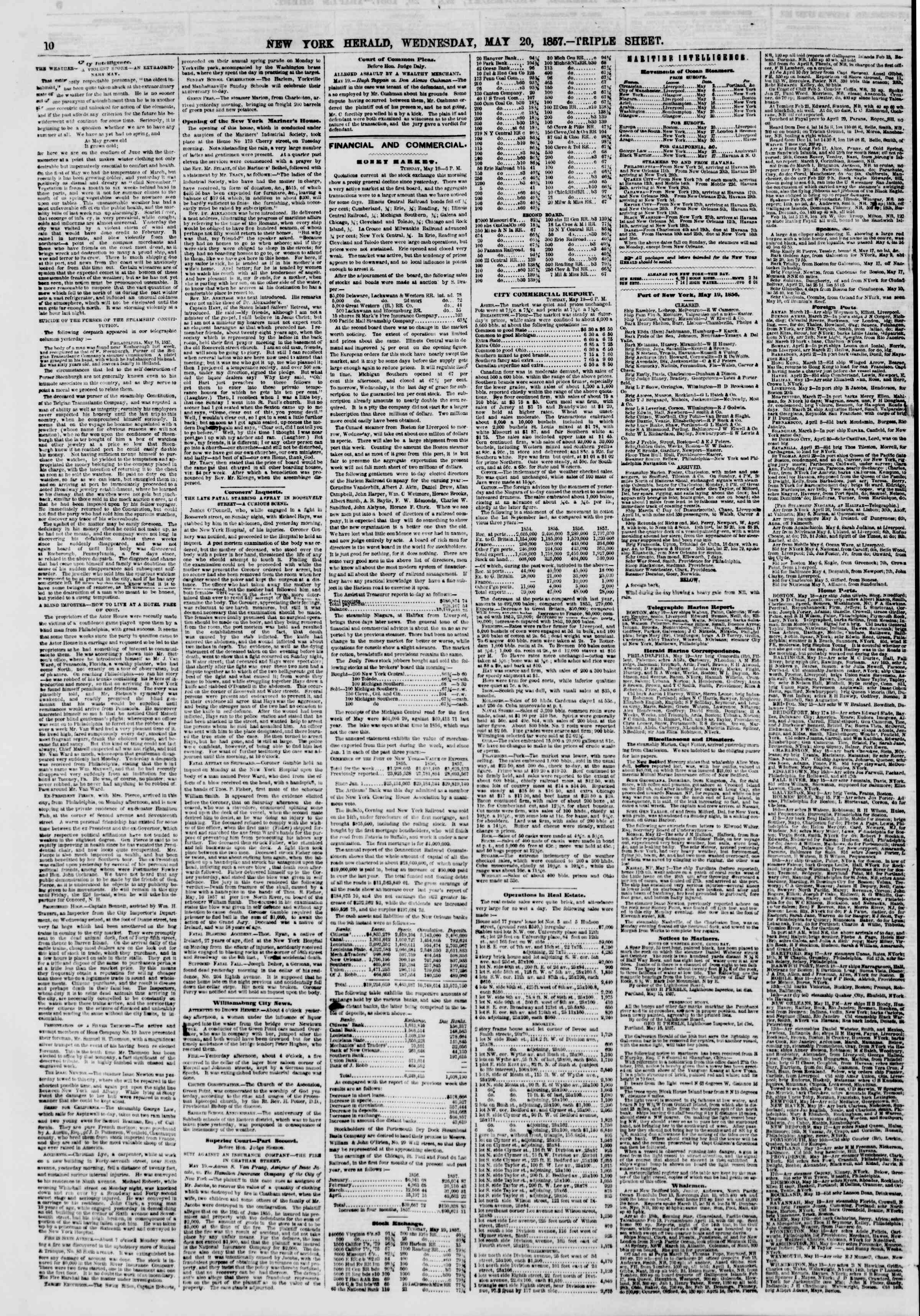 Newspaper of The New York Herald dated May 20, 1857 Page 10