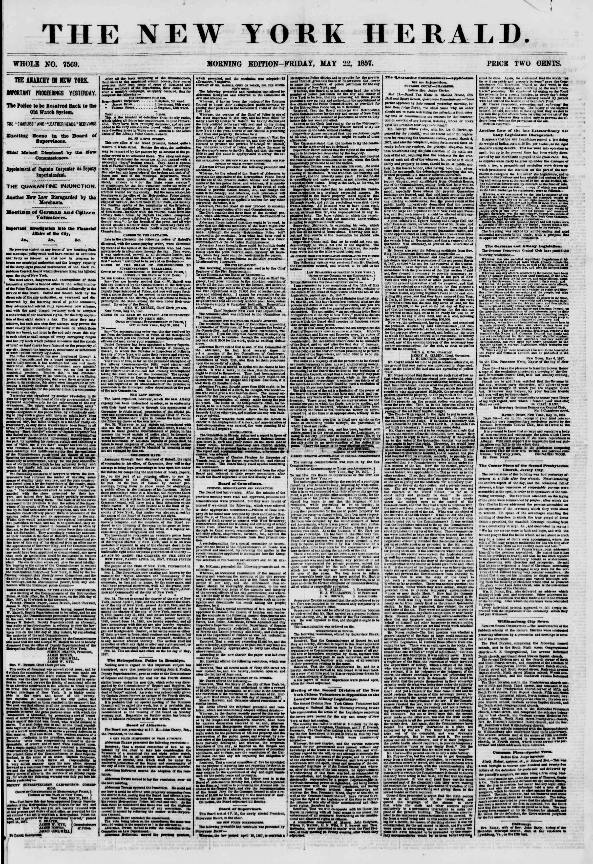 Newspaper of The New York Herald dated May 22, 1857 Page 1