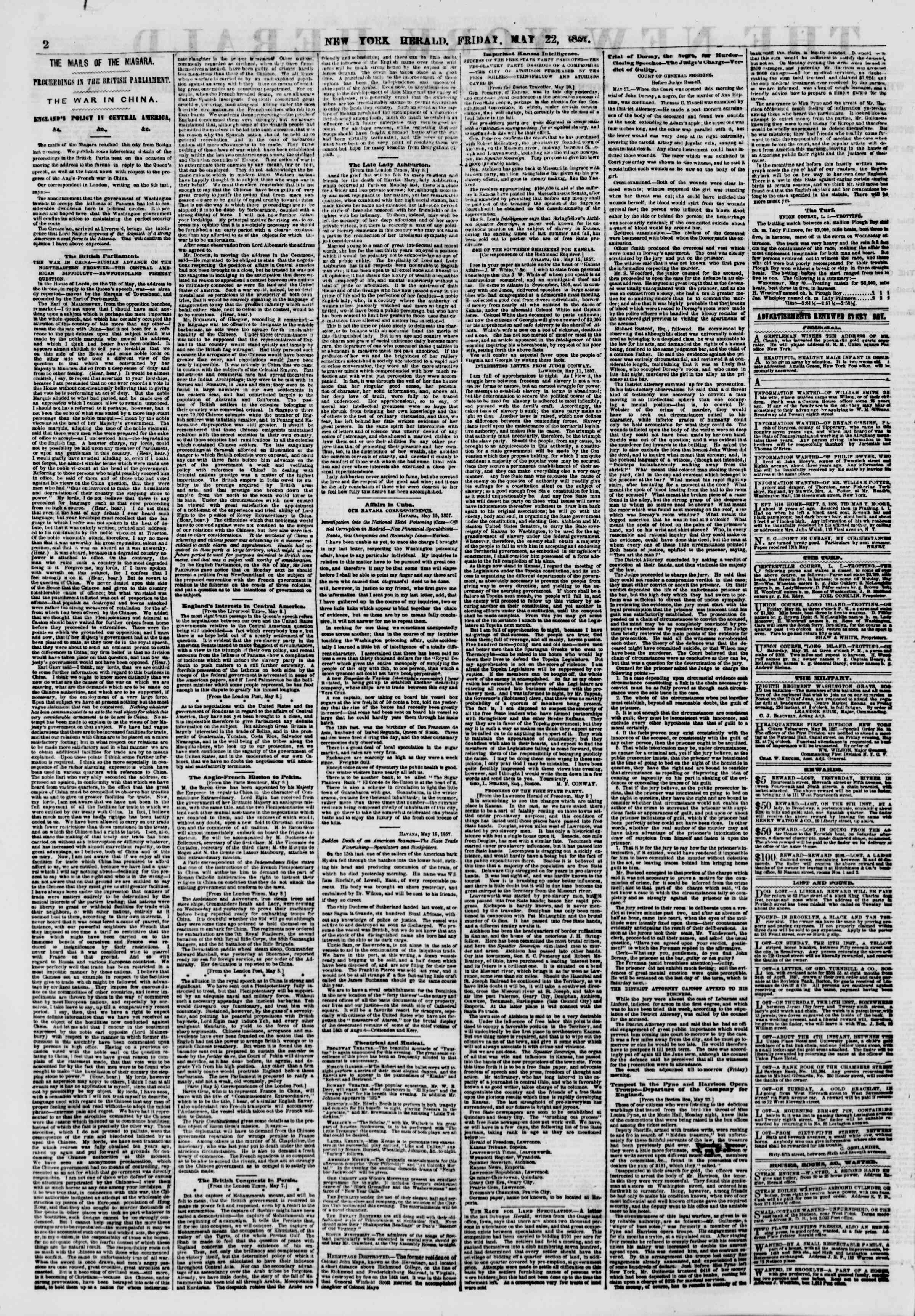 Newspaper of The New York Herald dated May 22, 1857 Page 2