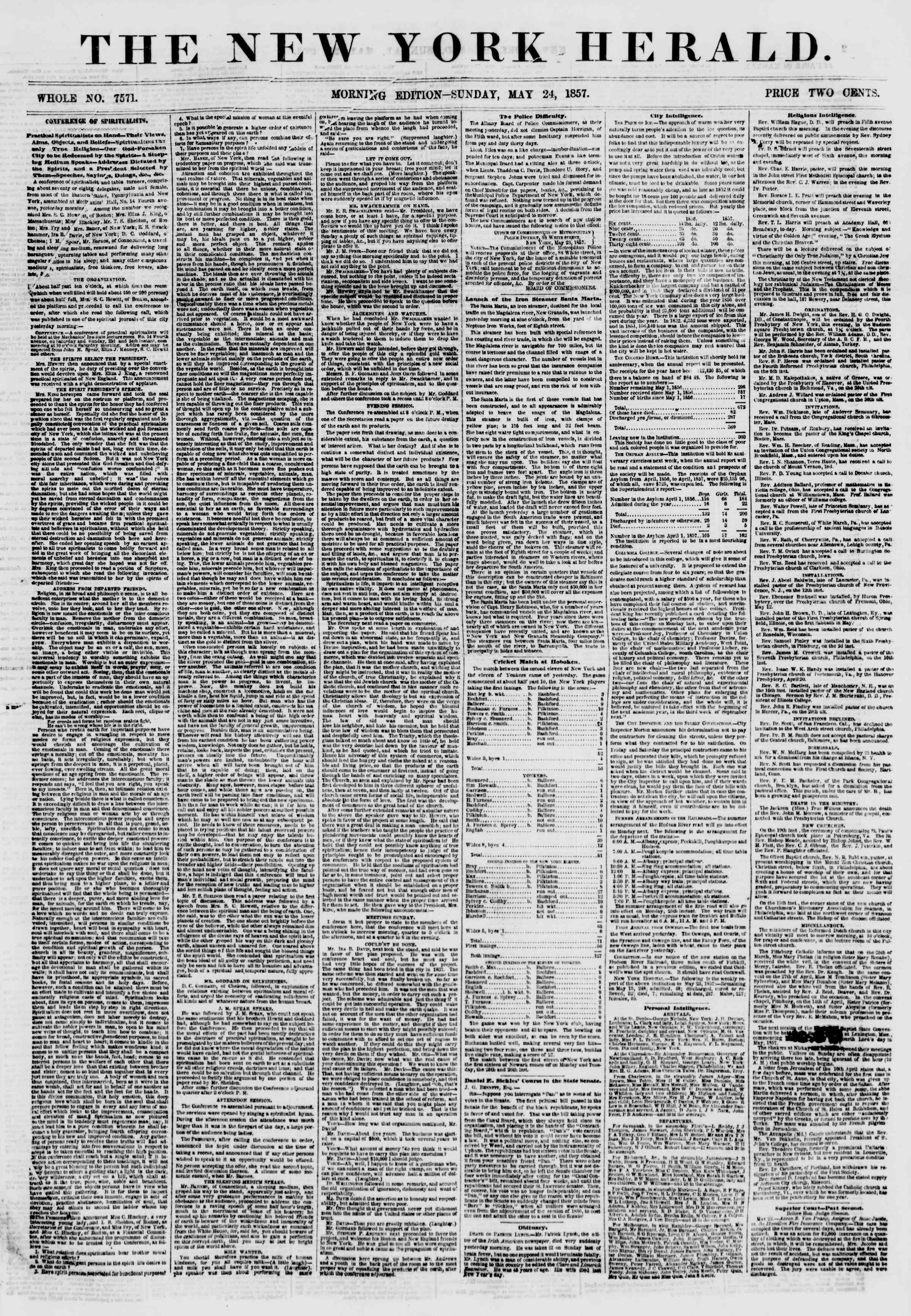 Newspaper of The New York Herald dated May 24, 1857 Page 1