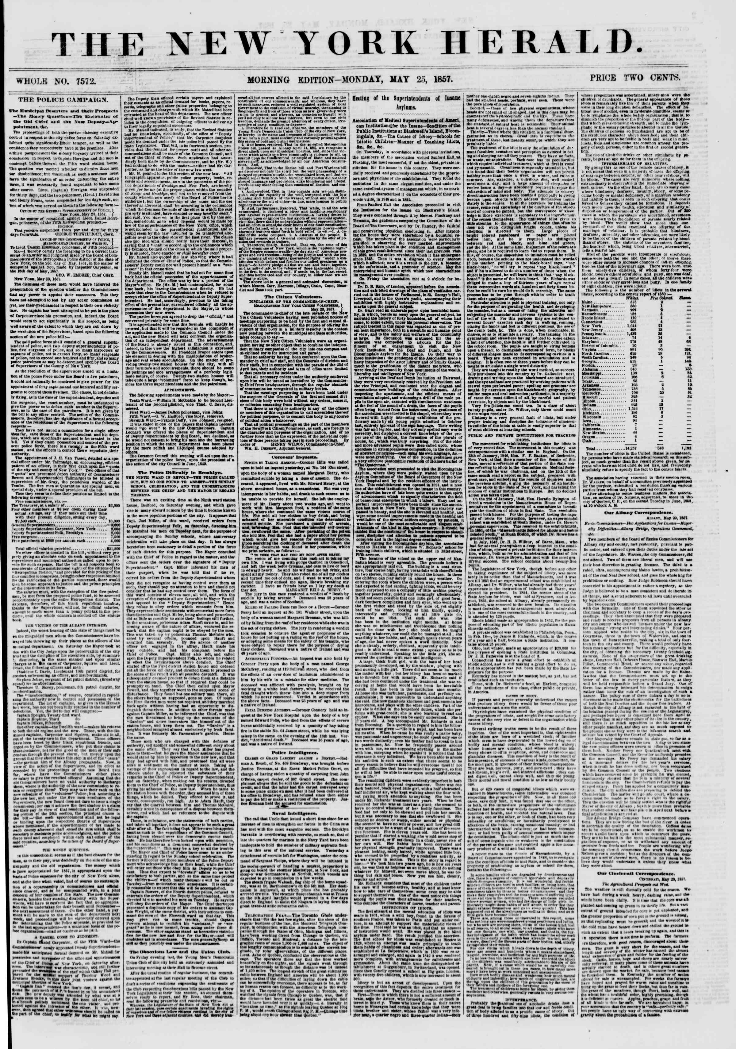 Newspaper of The New York Herald dated May 25, 1857 Page 1