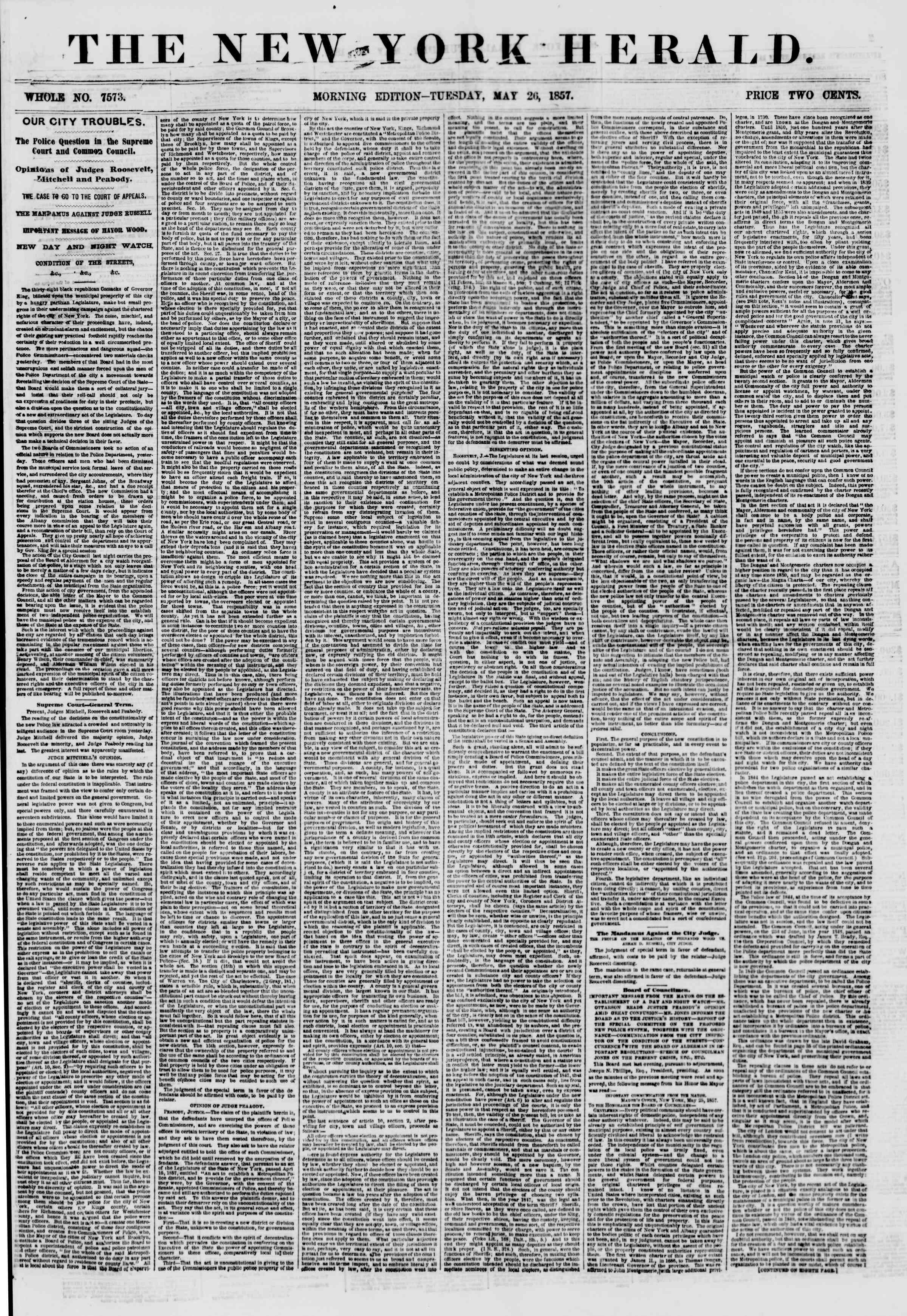 Newspaper of The New York Herald dated May 26, 1857 Page 1