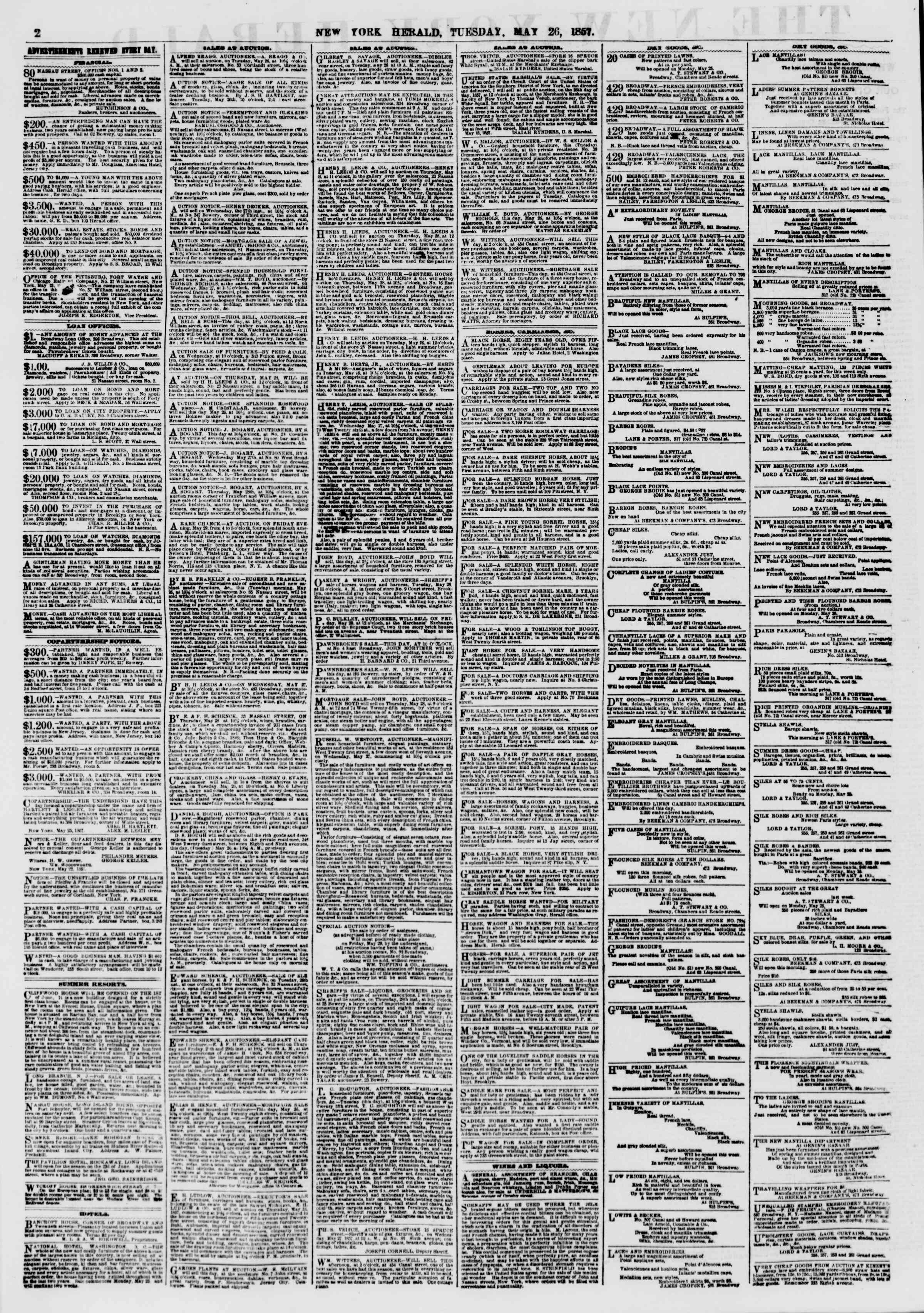 Newspaper of The New York Herald dated May 26, 1857 Page 2