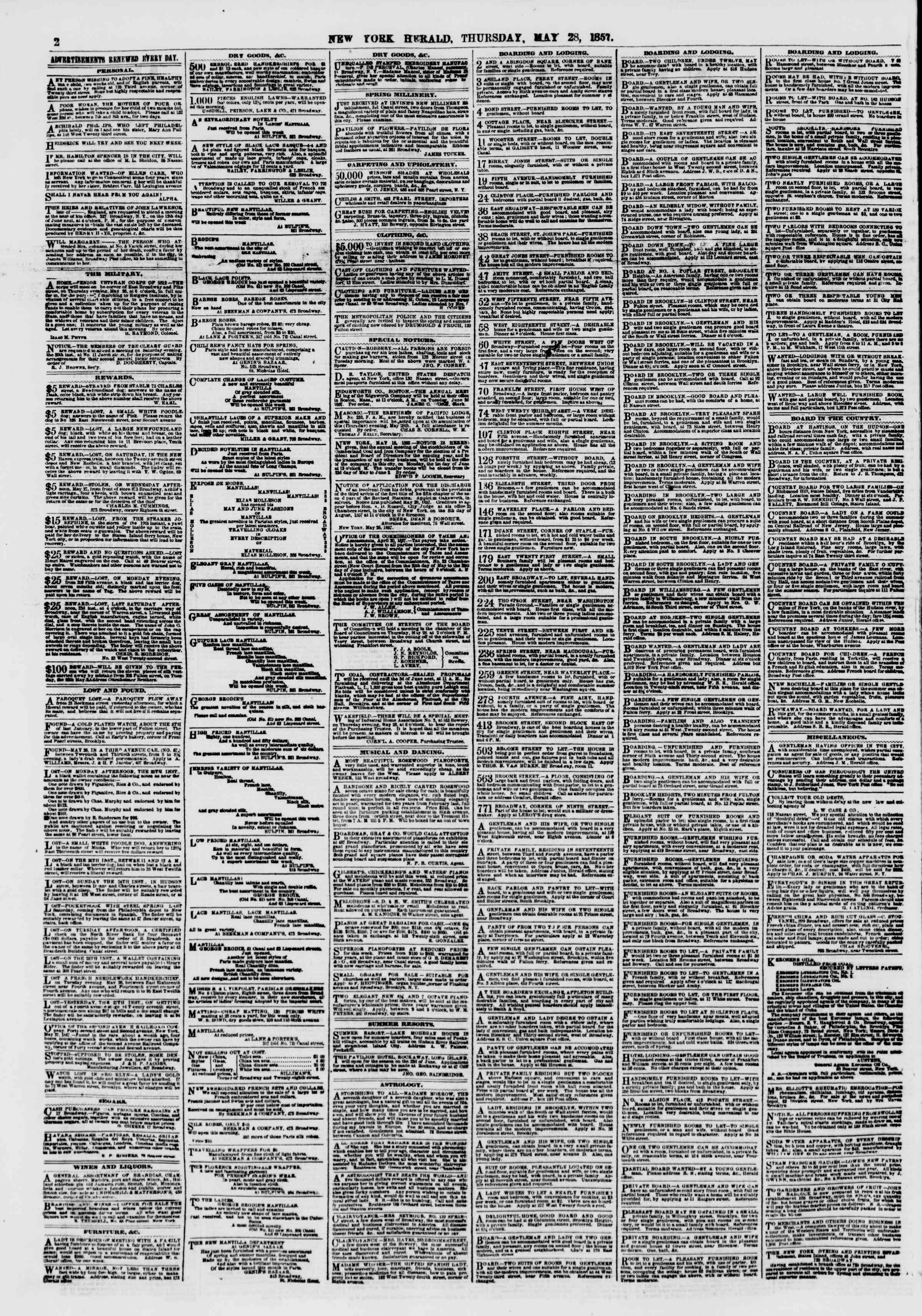 Newspaper of The New York Herald dated May 28, 1857 Page 2