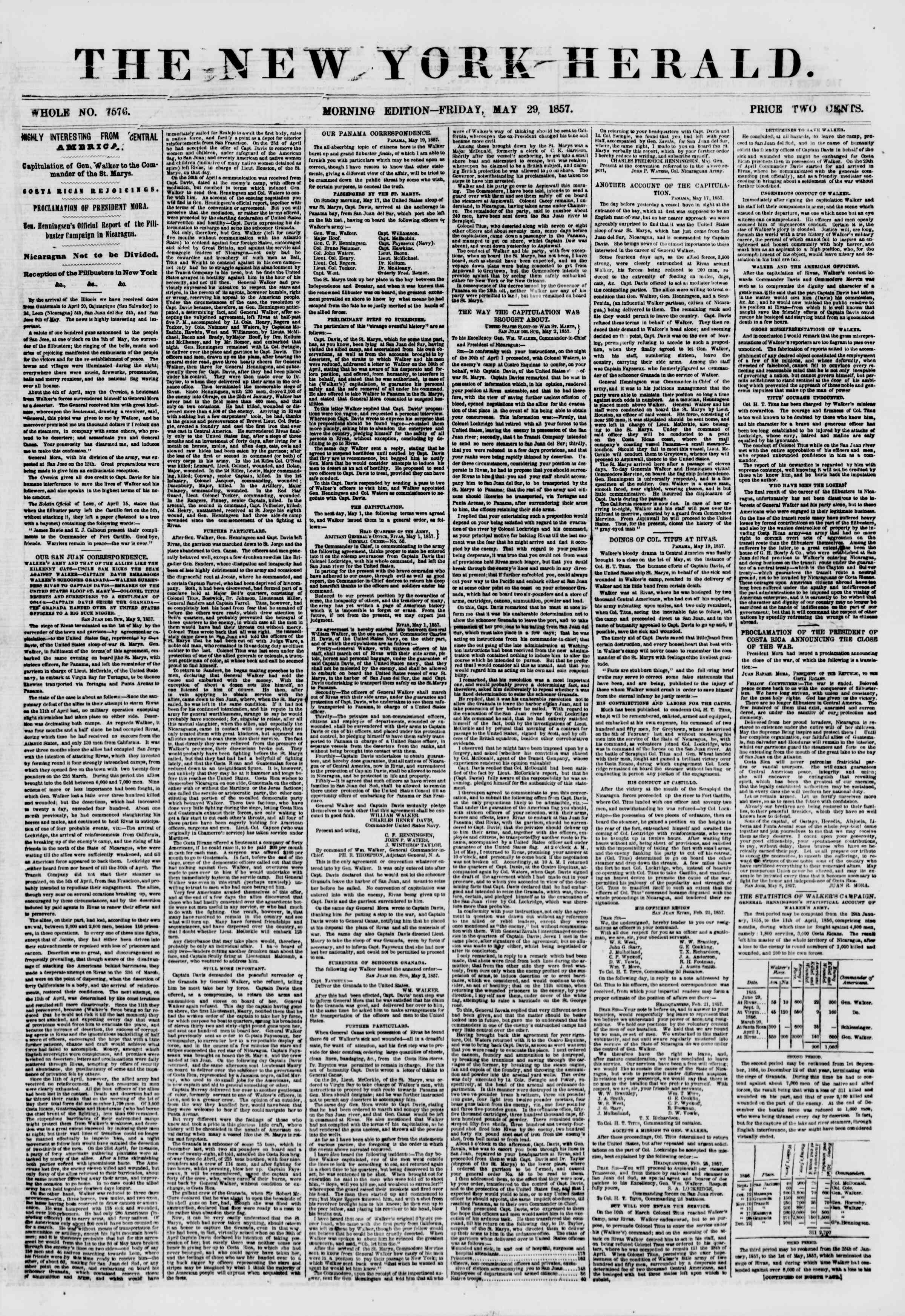 Newspaper of The New York Herald dated May 29, 1857 Page 1