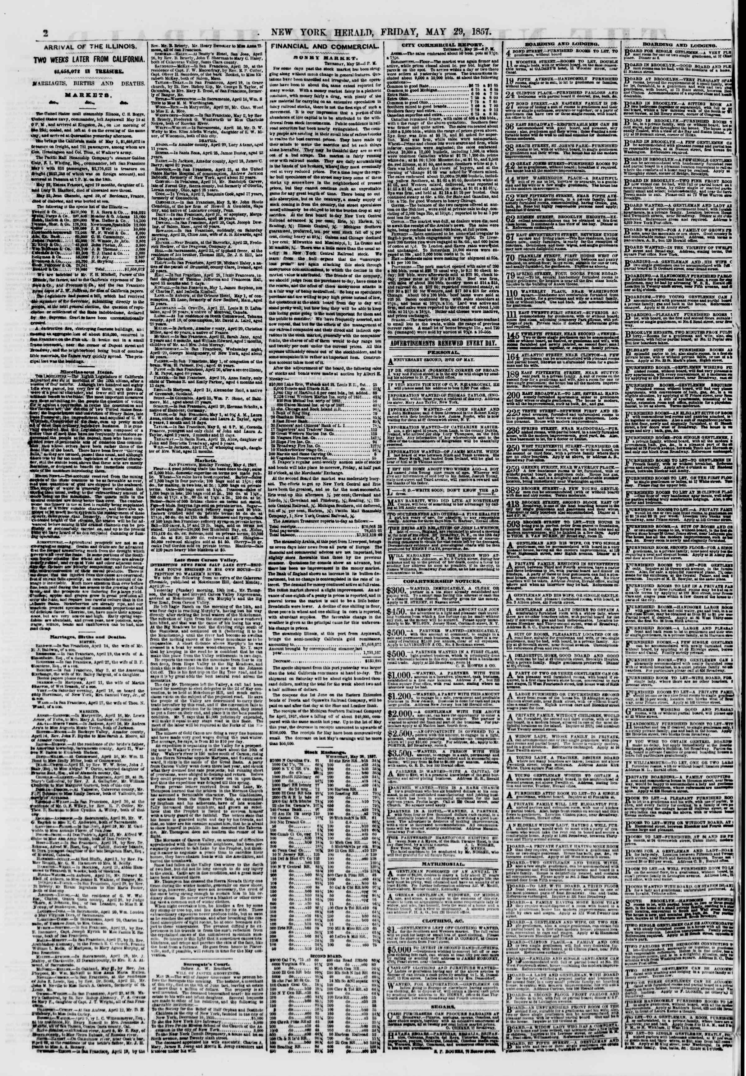 Newspaper of The New York Herald dated May 29, 1857 Page 2