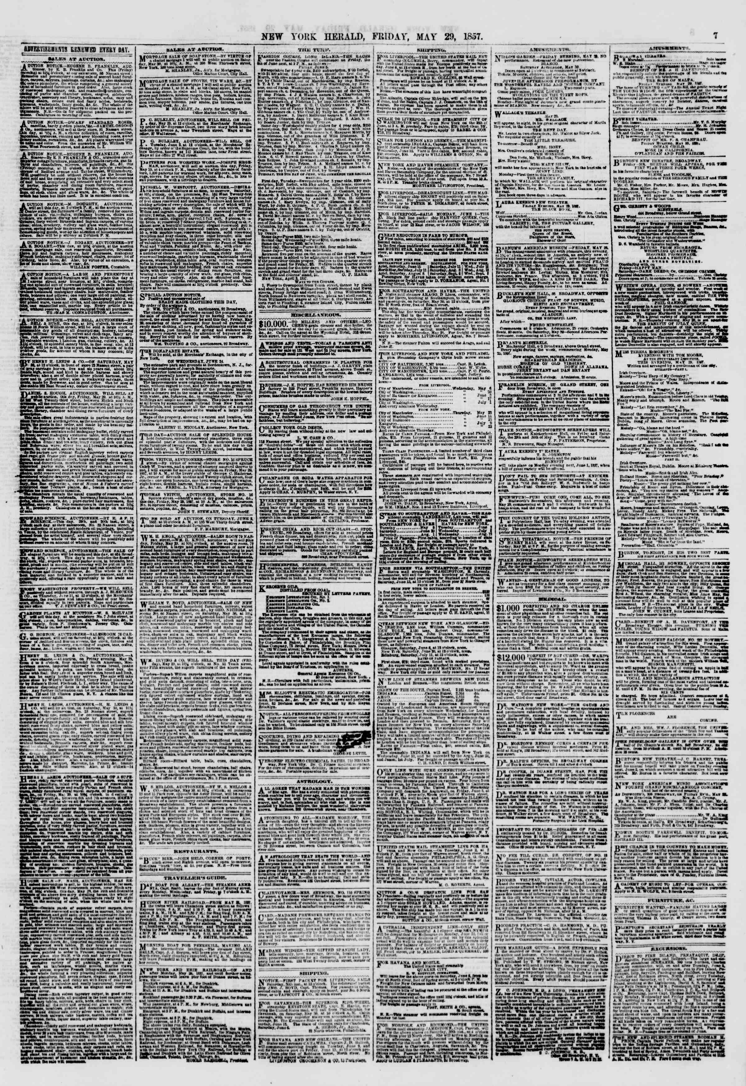 Newspaper of The New York Herald dated May 29, 1857 Page 7