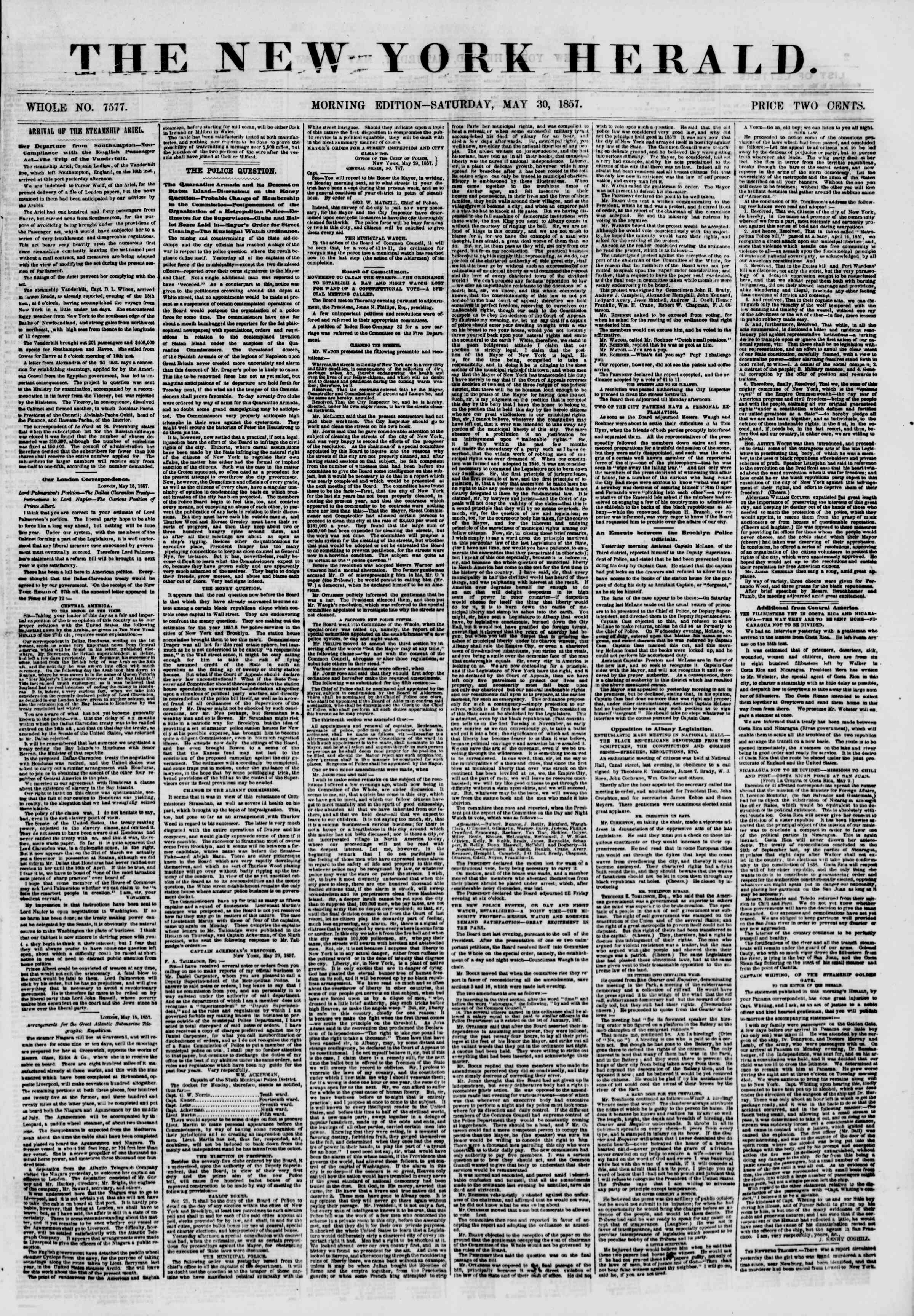 Newspaper of The New York Herald dated May 30, 1857 Page 1