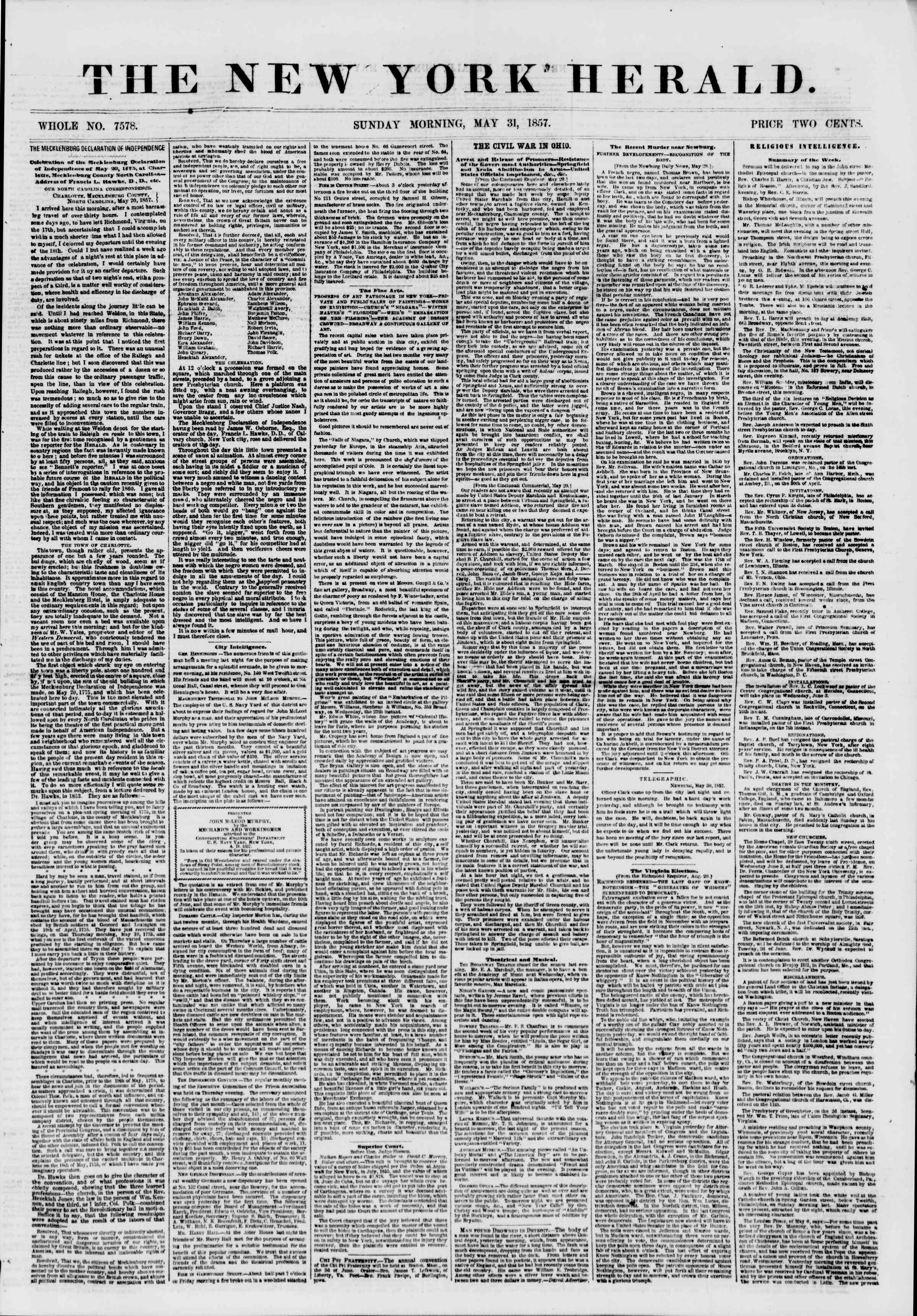 Newspaper of The New York Herald dated May 31, 1857 Page 1