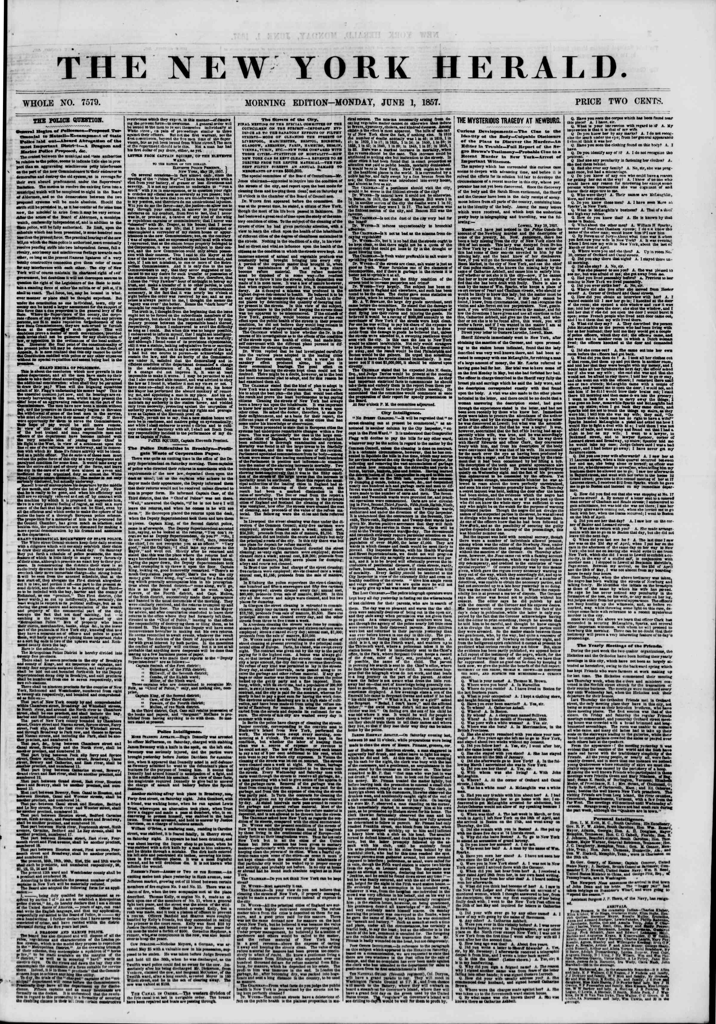 Newspaper of The New York Herald dated June 1, 1857 Page 1
