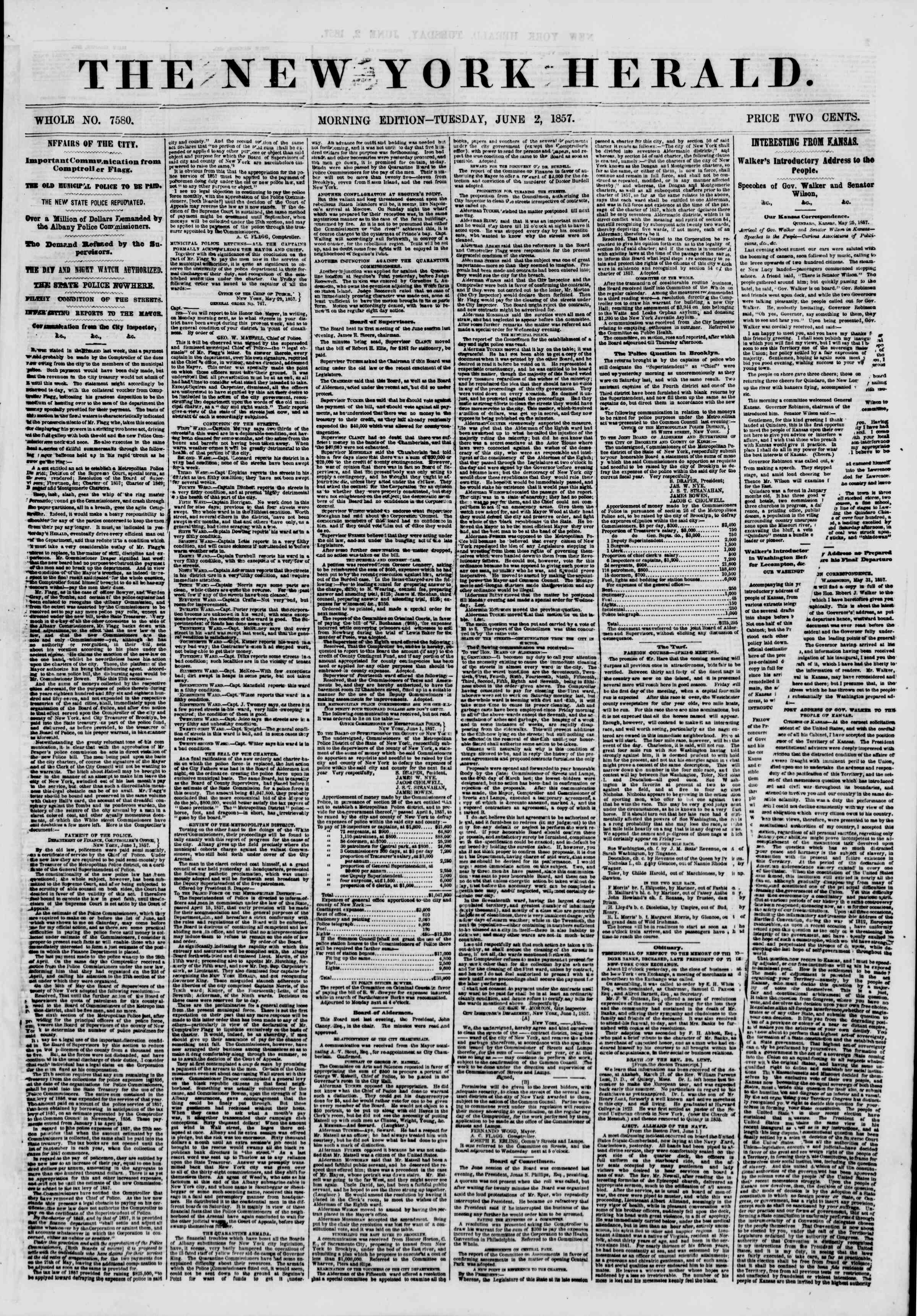Newspaper of The New York Herald dated June 2, 1857 Page 1