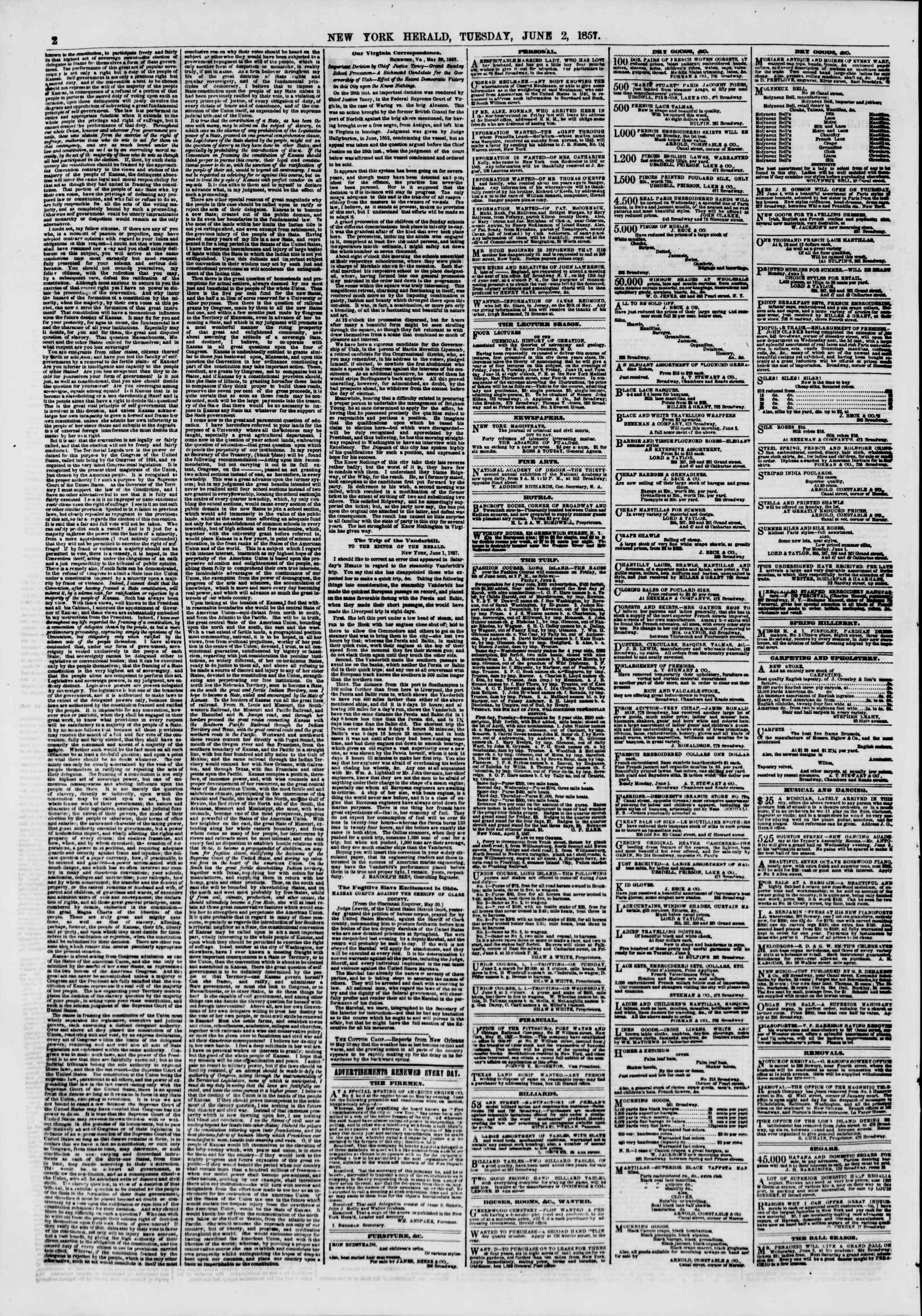 Newspaper of The New York Herald dated June 2, 1857 Page 2