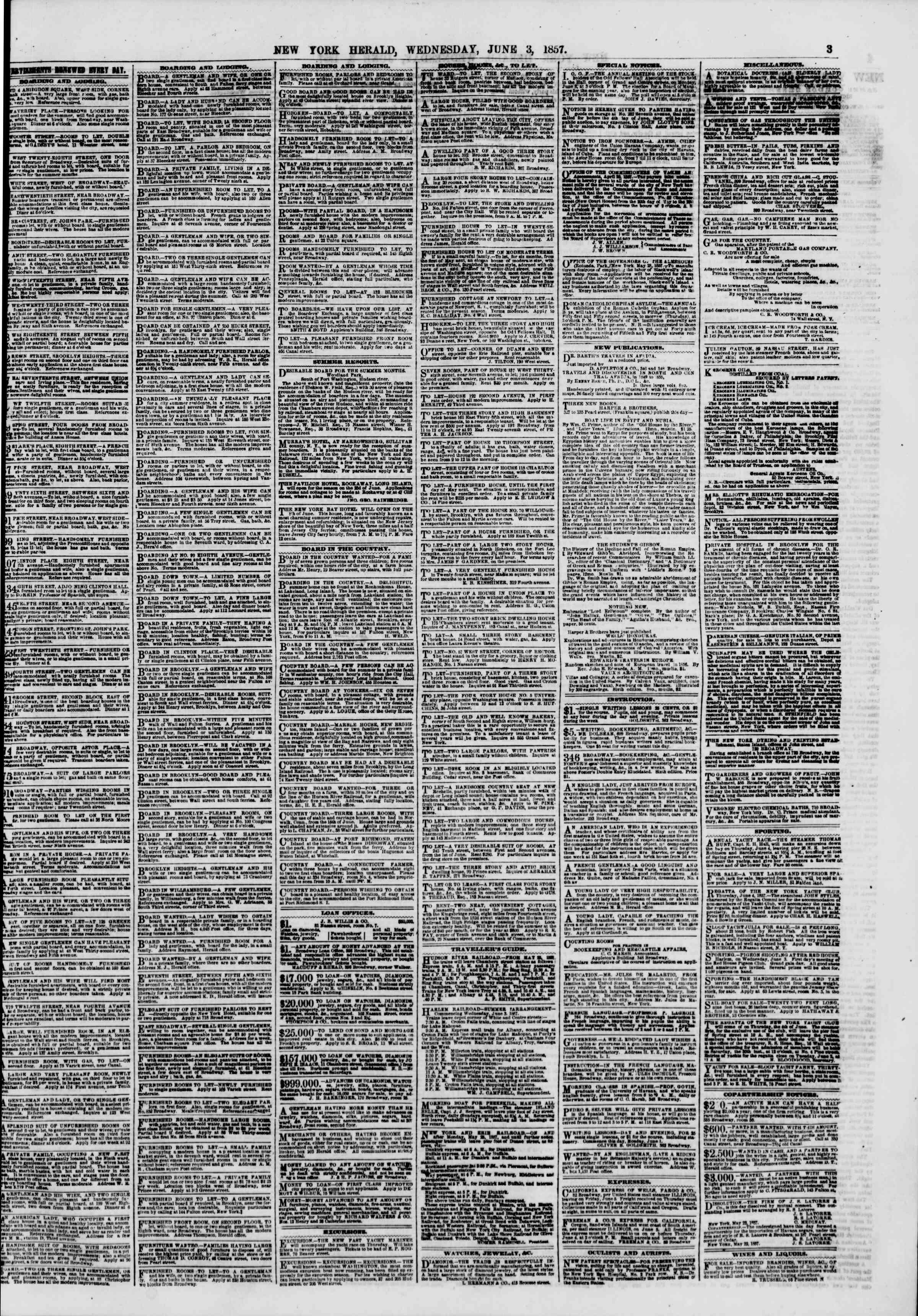 Newspaper of The New York Herald dated June 3, 1857 Page 3